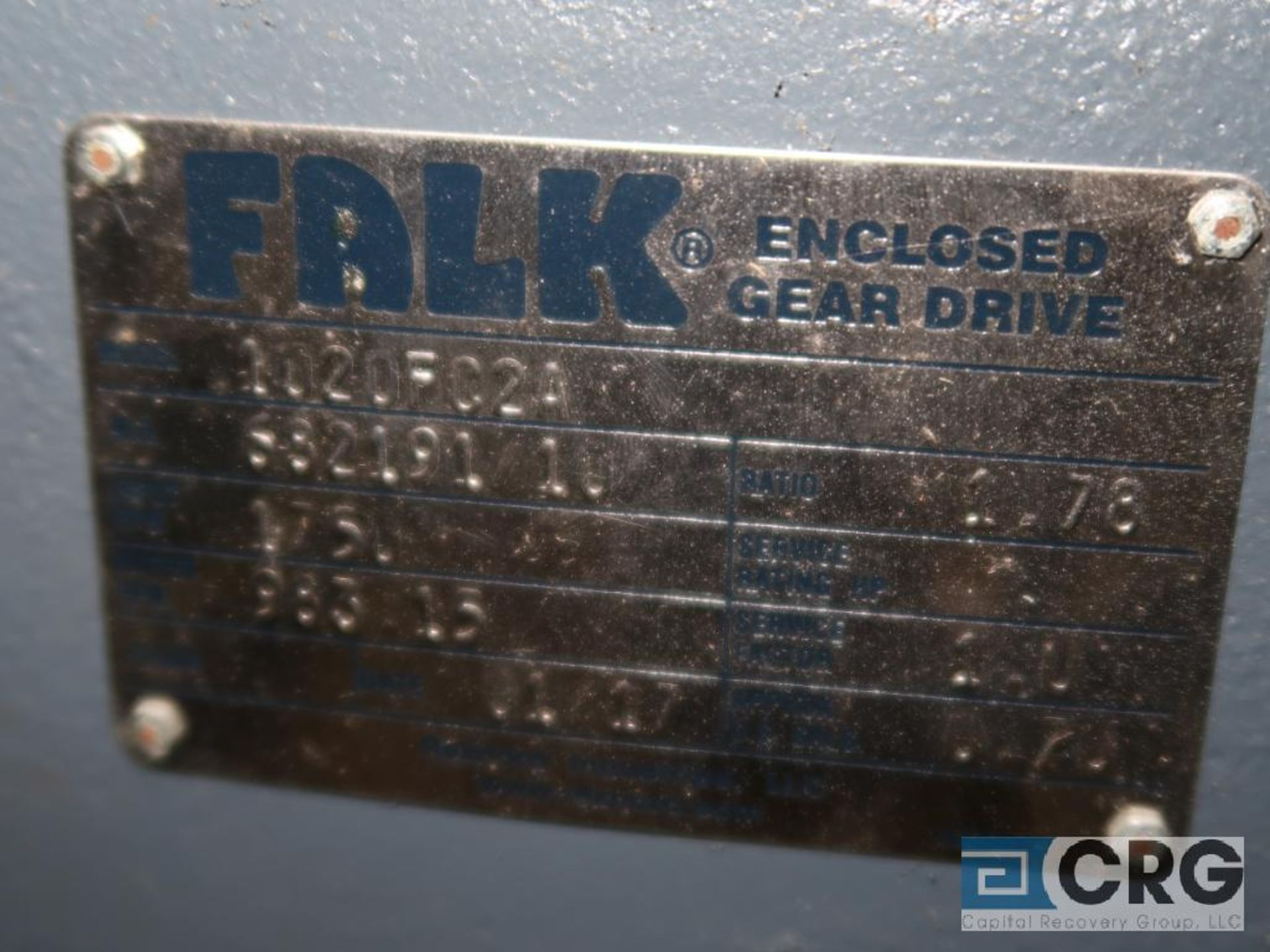 Falk 1020 FC2A gear drive, ratio 1.78, 983.15 RPM, s/n 68219110 (Finish Building) - Image 2 of 2