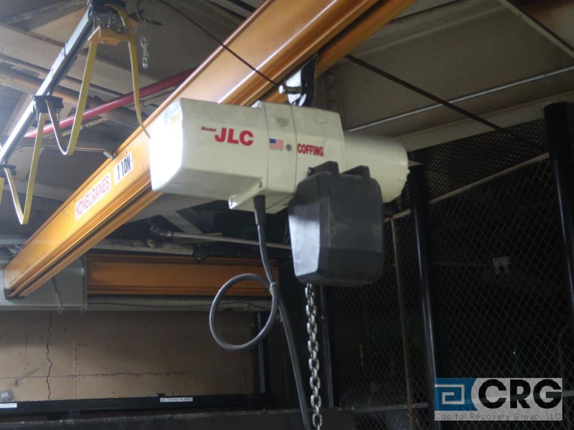 Konecrane bridge crane with coffin, JLC electric chain hoist, 16 ft. W x 22 ft. L, 1 ton cap. (