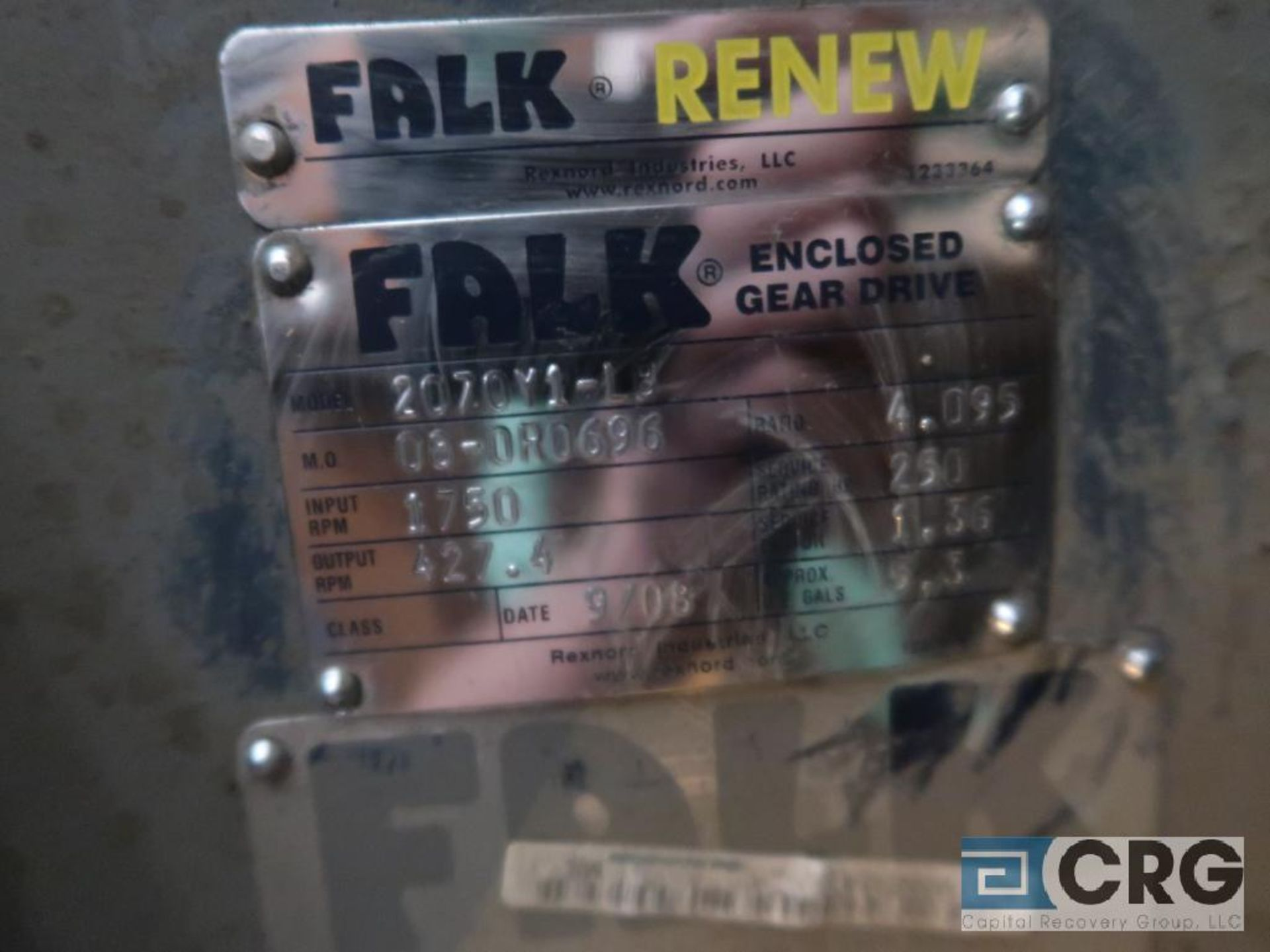 Falk 2070Y1LB gear drive, ratio-4.095, input RPM 1,750, output RPM 427.4, service rate HP. 250, s/ - Image 2 of 2
