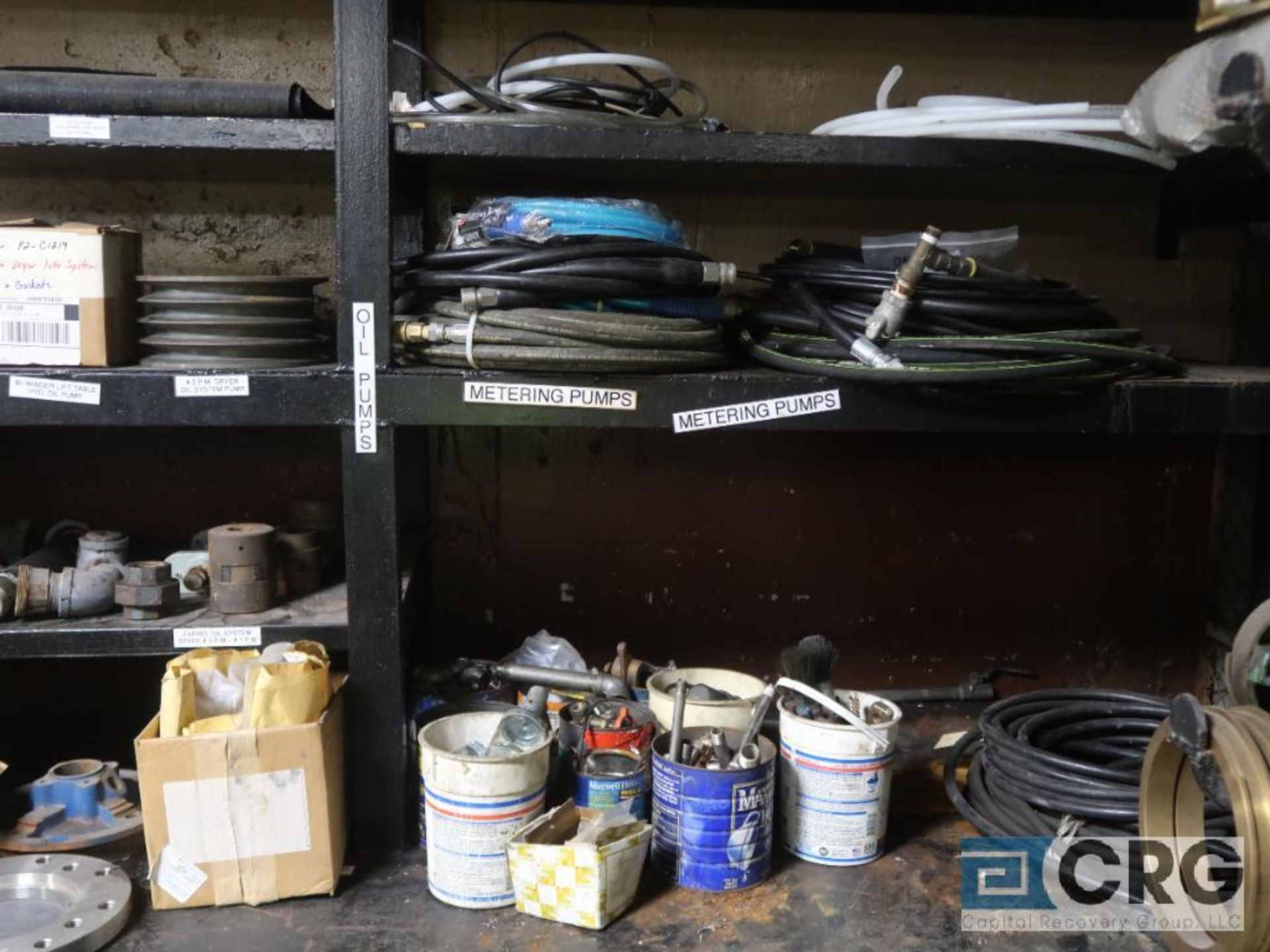 Lot of assorted parts on (4) sections and on wood shelving including motor, guards, housing, pump - Image 11 of 20