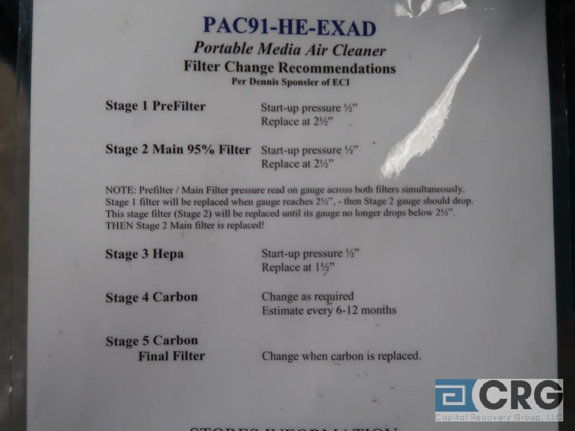 Airflow Systems PAC91-HE-EXAD portable media air cleaner, EX Arm extraction system, 115 Volt( - Image 3 of 3
