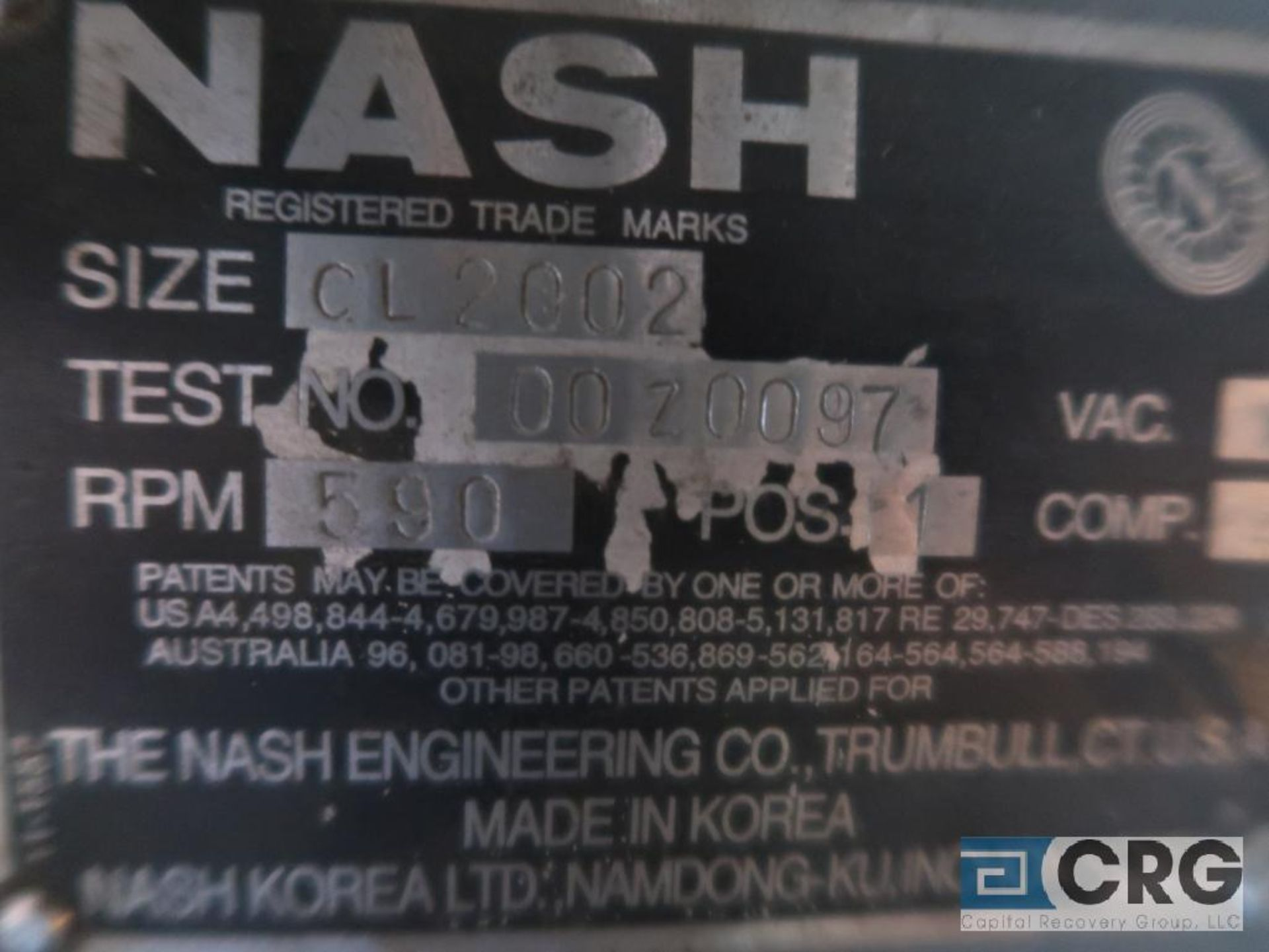 Nash CL1002 vacuum pump, remanufactured, s/n 0020097 (Off Site Warehouse) - Image 2 of 2