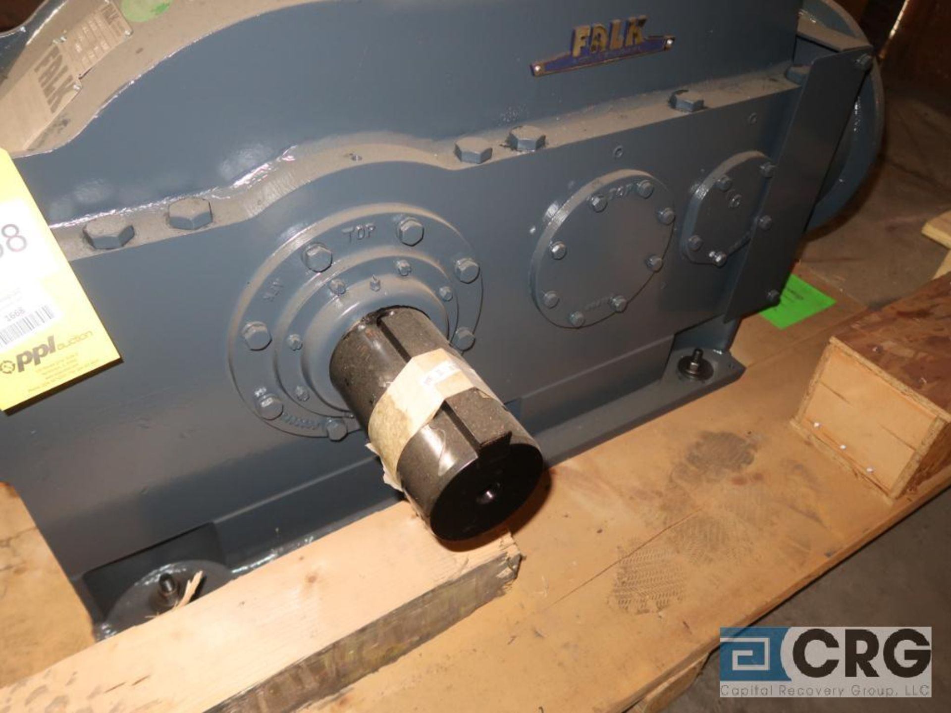 Falk 2080YB2LB gear drive, ratio-8.442, input RPM 2,153, output RPM 255.3, service rate HP. 75, s/