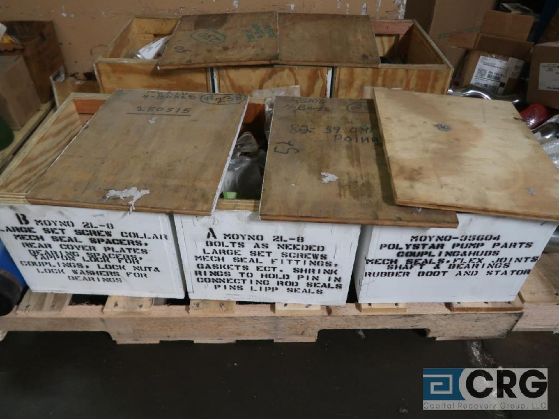Lot of assorted Moyno pump parts on (4) pallets including gaskets, worm shafts, and seals ( - Image 4 of 4