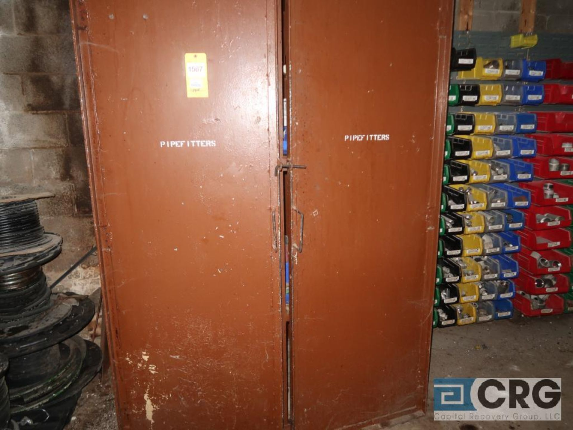 Lot of assorted steel and stainless pipe including steel cabinet, and wall mounted trays with - Image 3 of 4