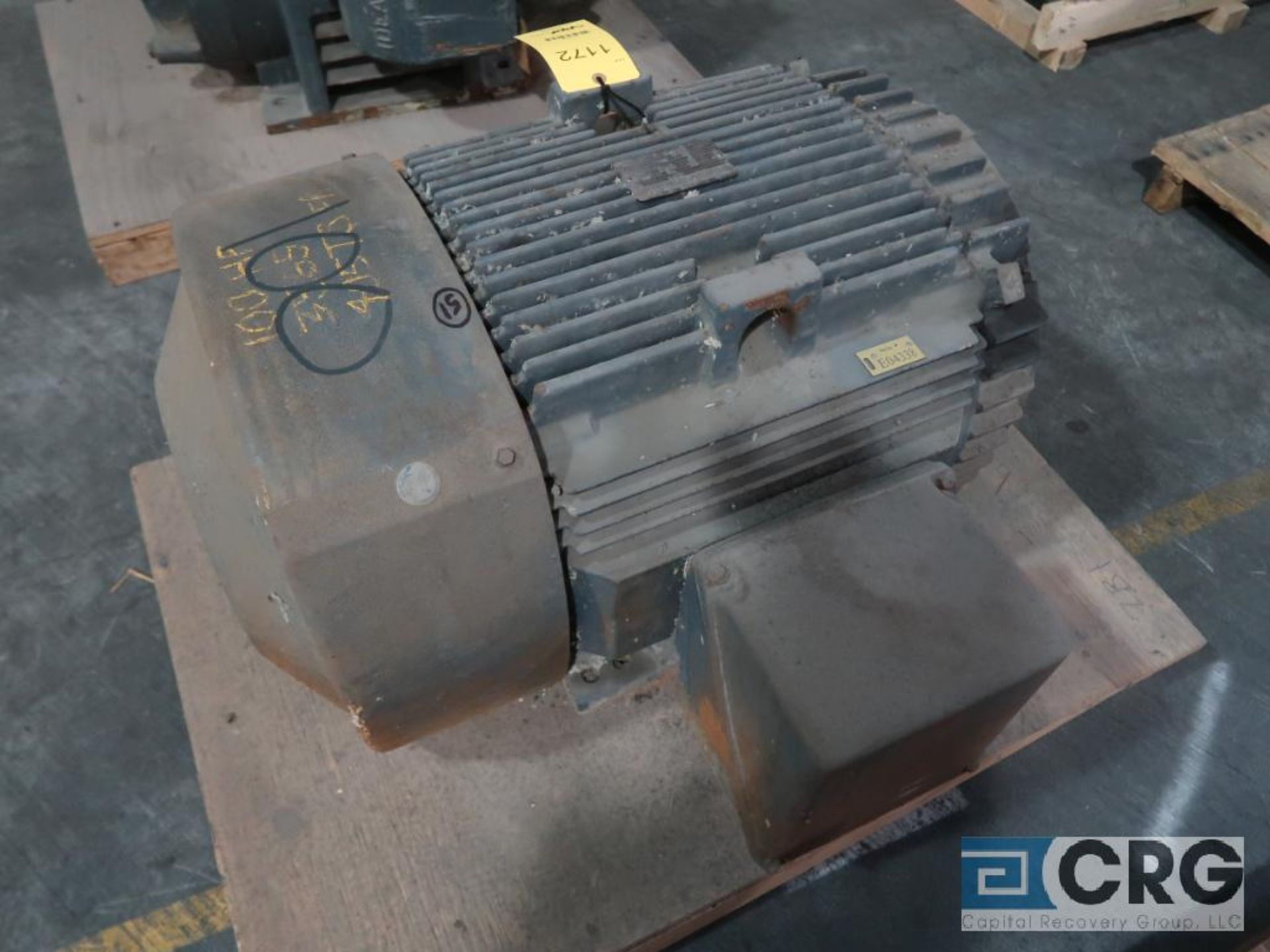 General Electric Severe Duty motor, 100 HP, 3,565 RPMs, 460 volt, 3 ph., 405TS frame (Finish