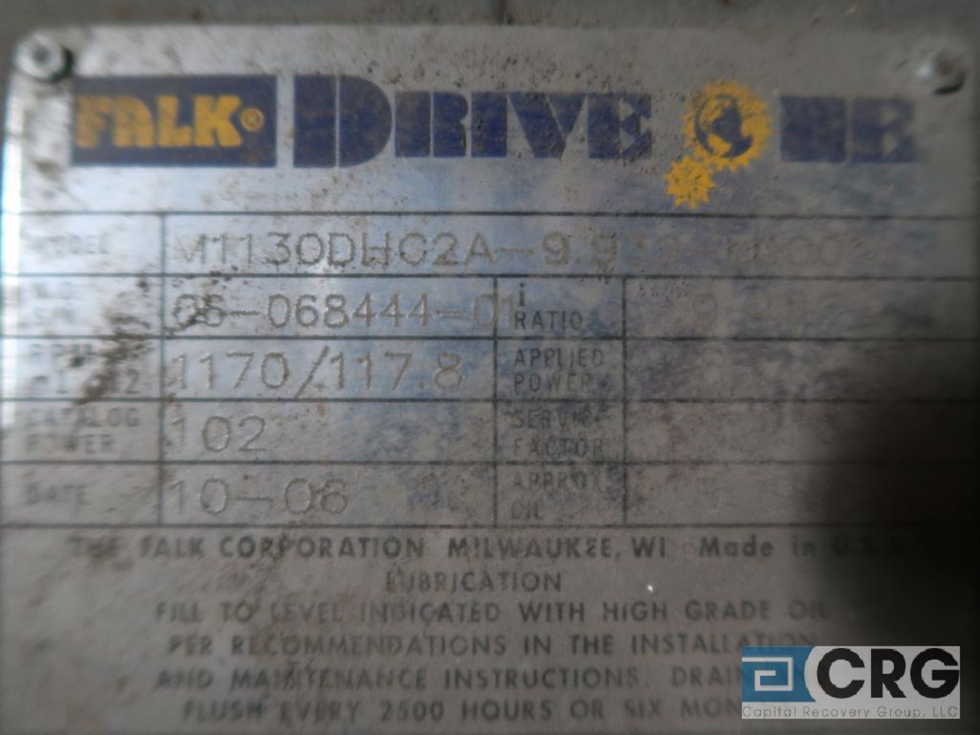 Falk M1130DHC 2A gear drive, ratio-9.932, RPM 1170/117.8, service rate HP. 25, s/n 068444C1 (Next - Image 3 of 3