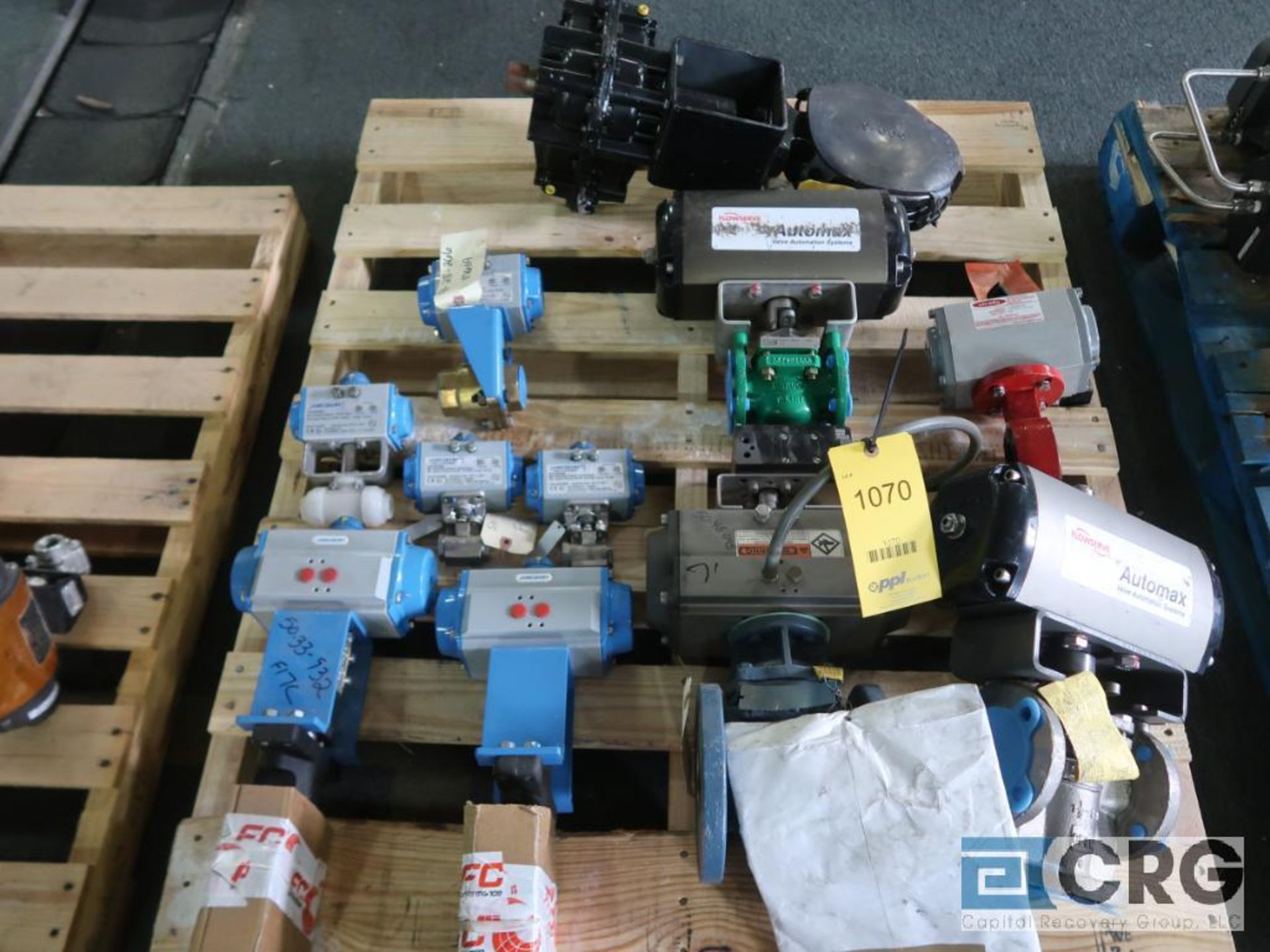 Lot of (12) assorted actuator valves on (2) pallets, (4) butterfly, and (8) ball (Finish Building)
