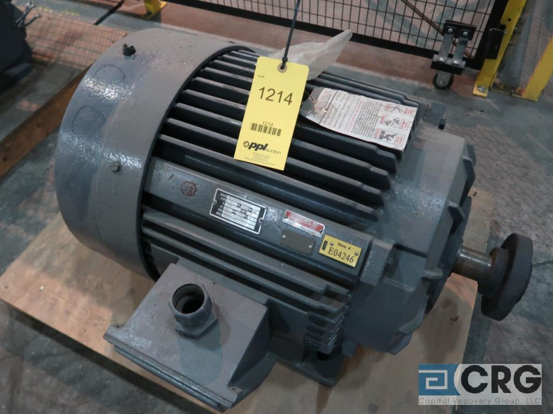 Reliance electric motor, 60 HP, 1,770 RPMs, 440 volt, 3 ph., 405US frame (Finish Building)