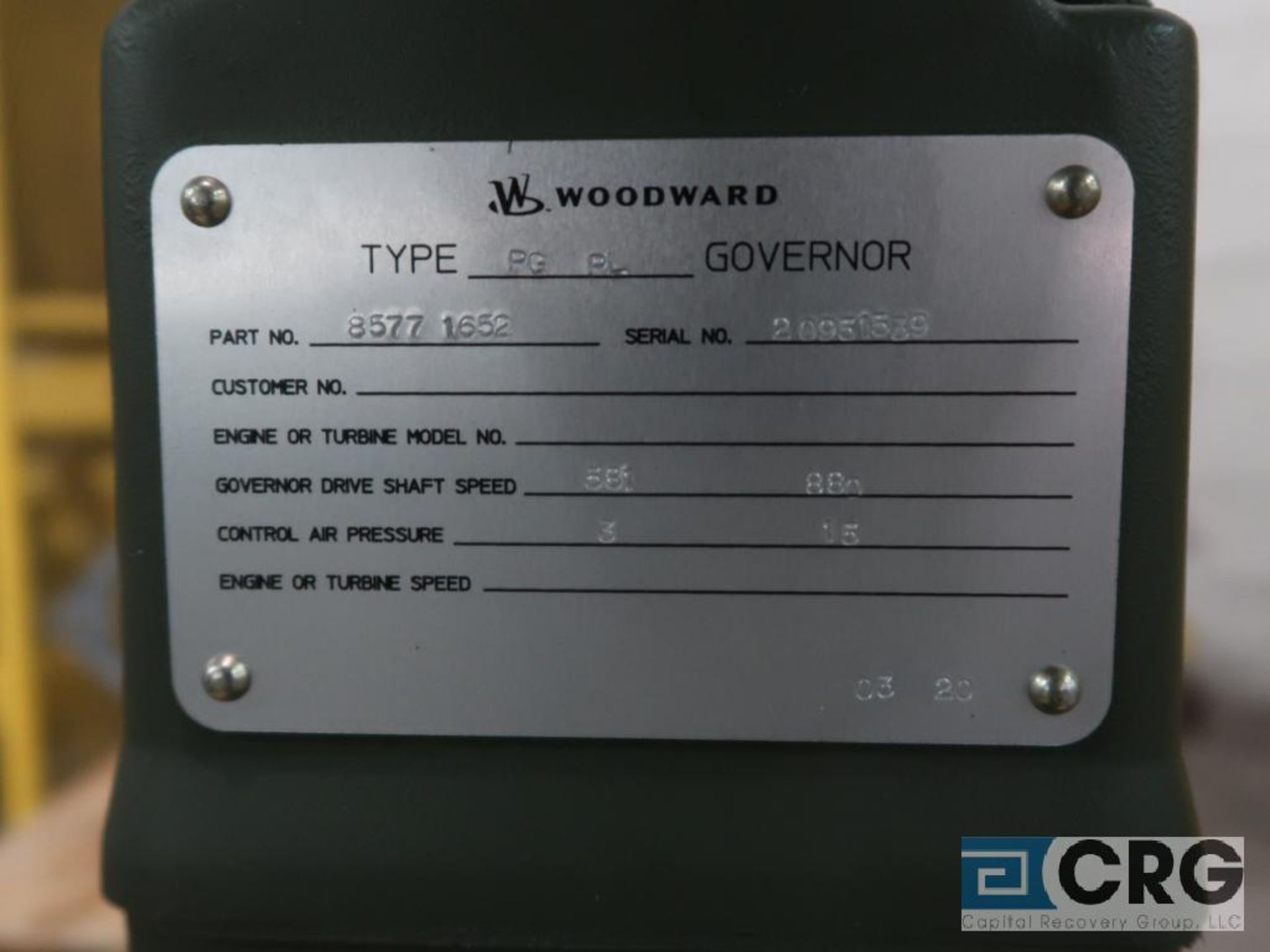 Woodward PGPL govenor, 380-1,470 RPM, s/n 20951539 (Finish Building) - Image 2 of 2