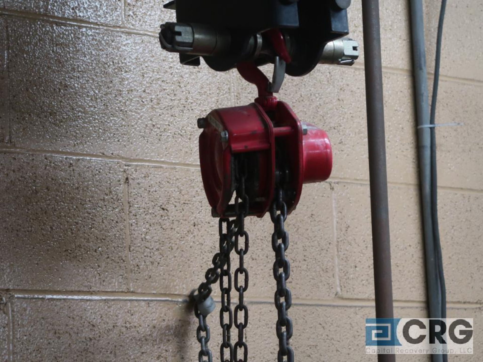 Lot of (2) chain hoists, (1) electric, 1 ton cap., and (1) manual, 1 ton cap.-no rail, hoist only ( - Image 2 of 2