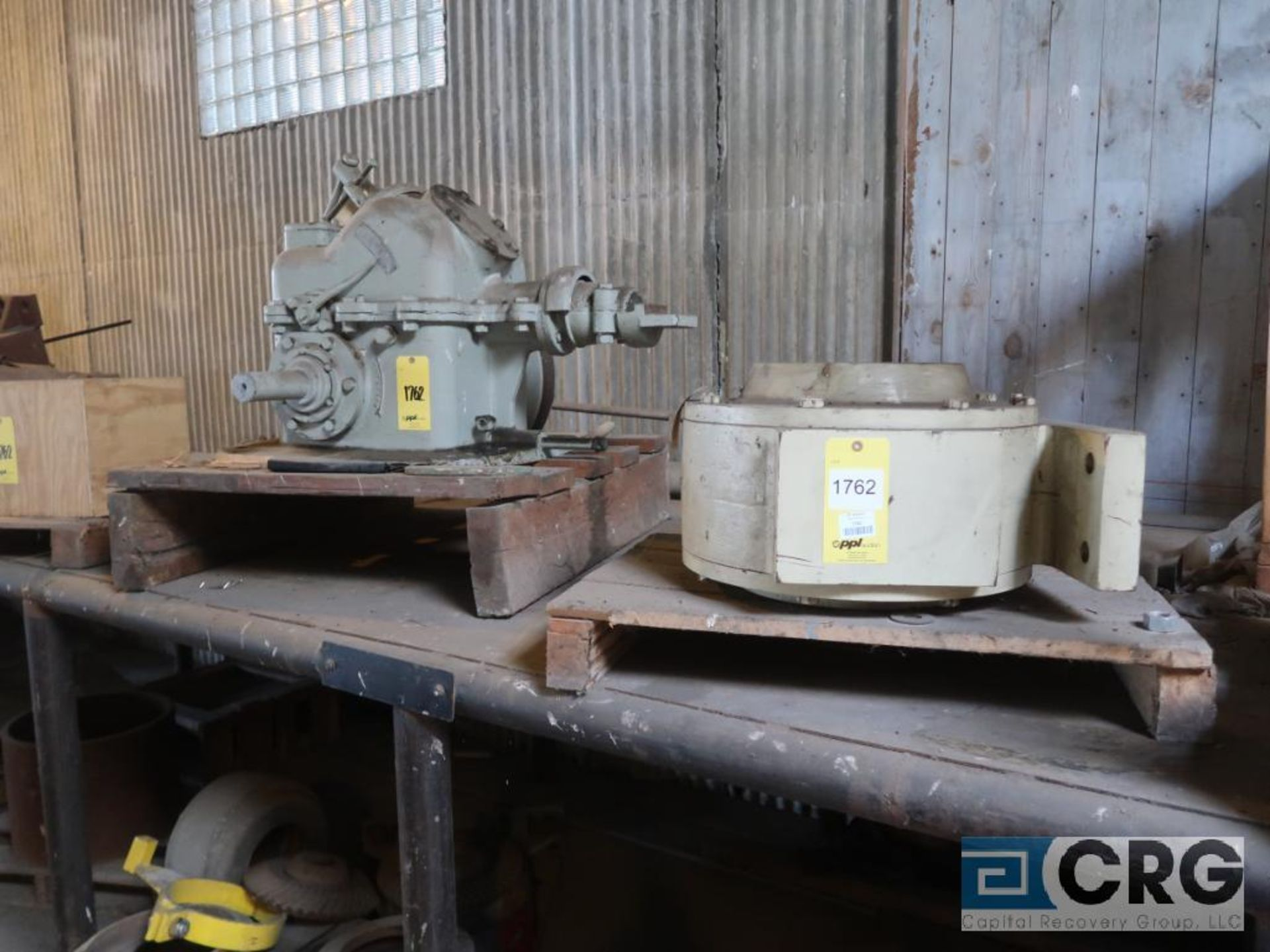 Lot of assorted motor, gear bearing housing, gear drive on metal rack (Next Bay Cage Area) - Image 3 of 16