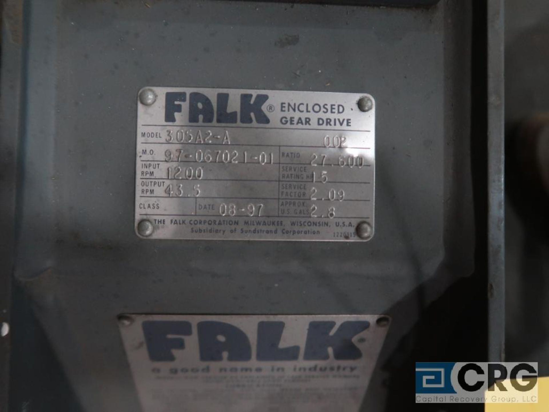Falk 305 A2A parallel gear drive, ratio 27.600, 43.5 RPM, s/n 7021-11 (Finish Building) - Image 2 of 2