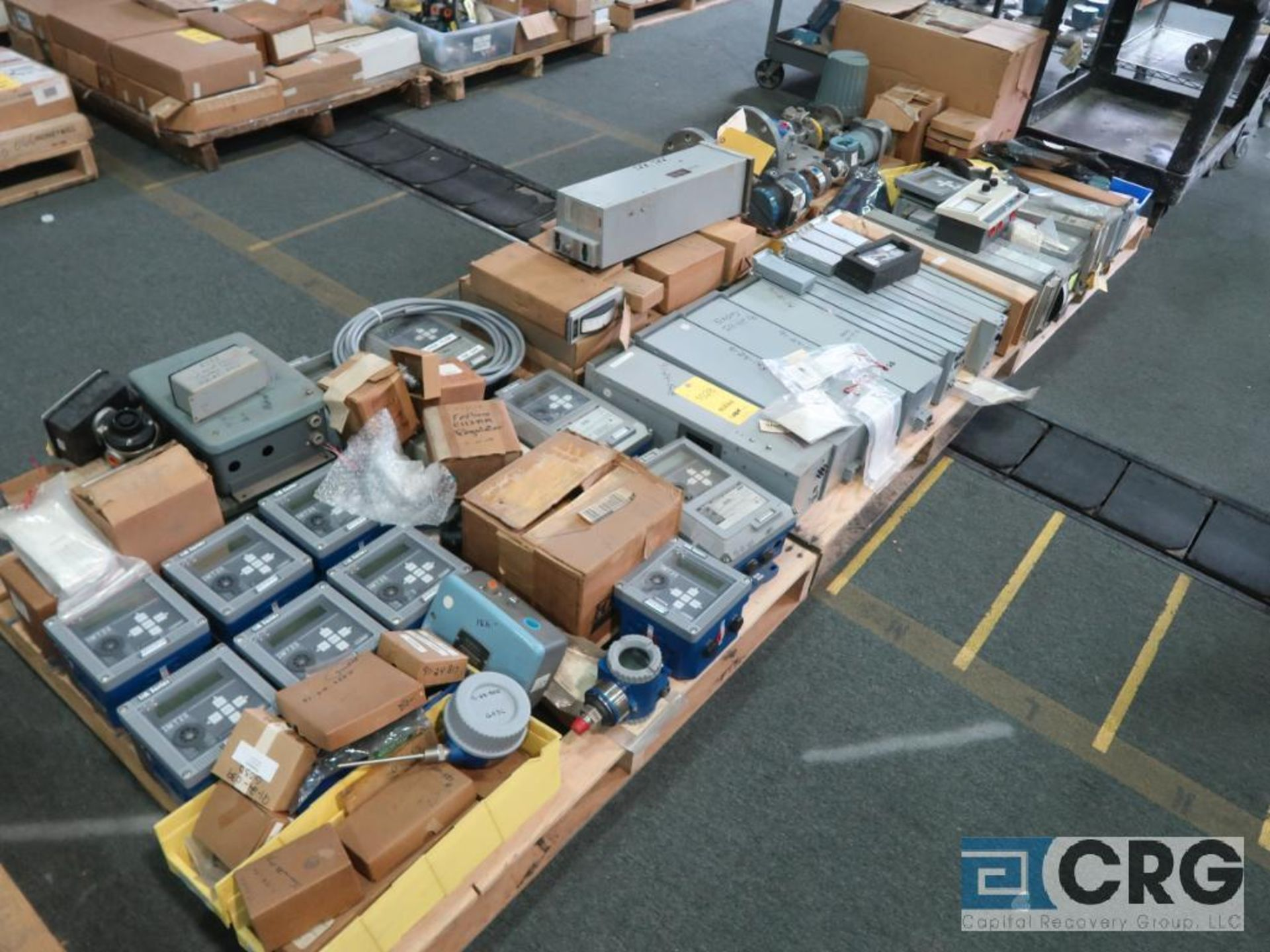 Lot of Foxboro instrumentation on (3) pallets including sensors, recorders, touch screen, and modems