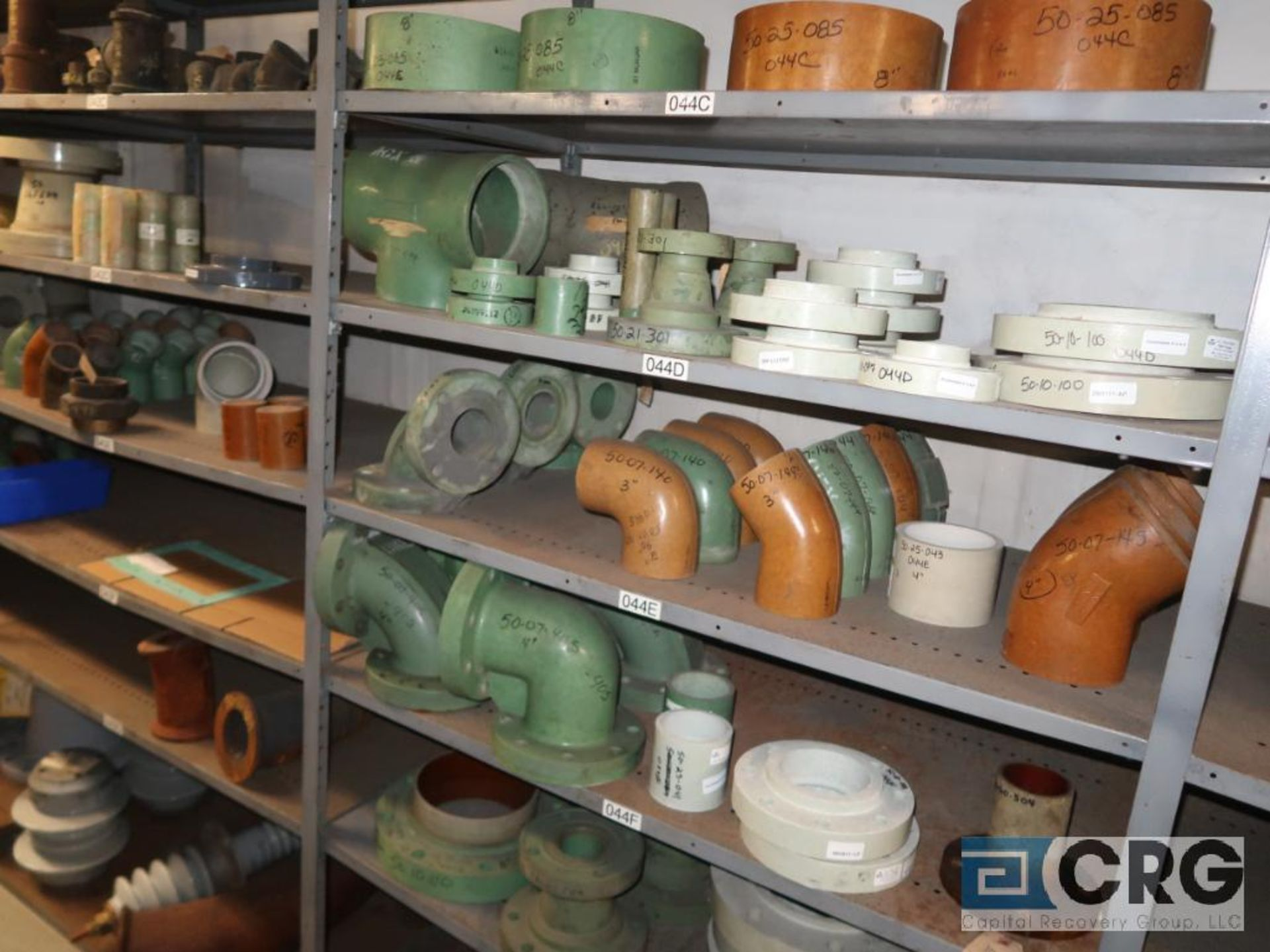 Lot of (15) sections with assorted parts including fiberglass pipes, fittings, steel fittings, tee' - Image 4 of 11