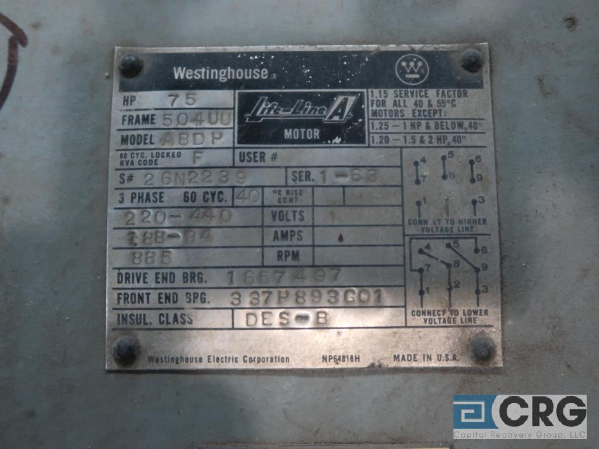 Westinghouse Life-Line A motor, 75 HP, 885 RPMs, 220/440 volt, 3 ph., 504UU frame (Finish Building) - Image 2 of 2