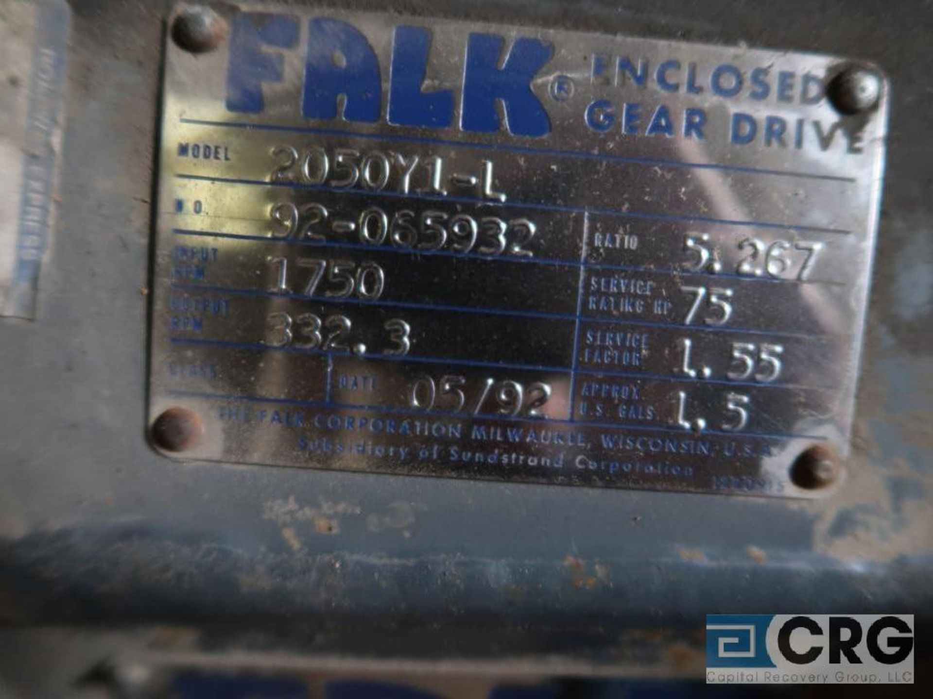 Falk 2050 Y1L gear drive, ratio 5.267, input RPM 1,750, output RPM 332.3, service rate HP. 75, s/n - Image 3 of 3