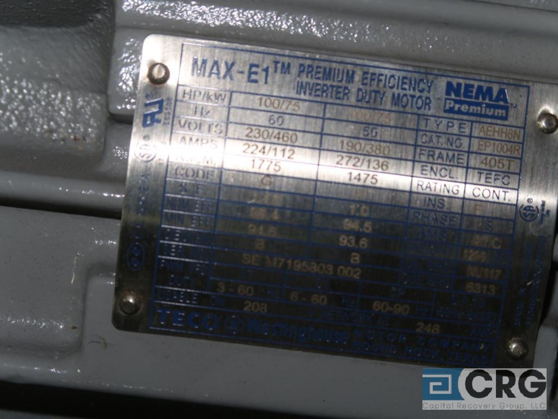 Teco Westinghouse MAX-E1 motor, 100 HP, 1,775 RPMs, 230/460 volt, 3 ph., 405T frame (Finish - Image 2 of 2