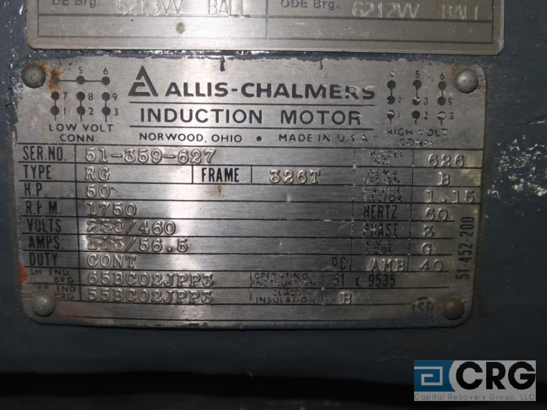 Allis-Chalmers induction motor, 50 HP, 1,750 RPMs, 460 volt, 3 ph., 326T frame (Finish Building) - Image 2 of 2