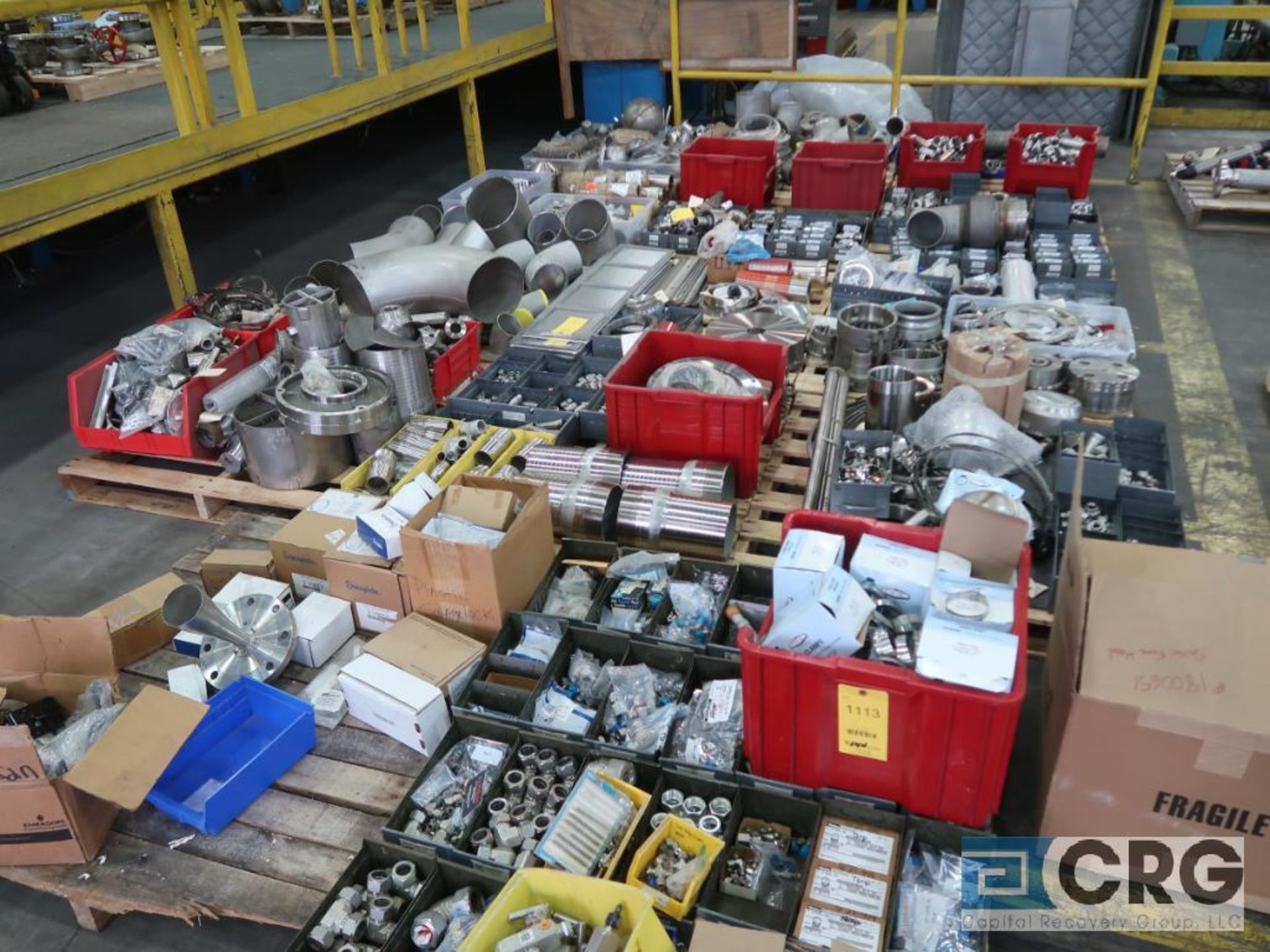 Lot of (14) pallets of stainless fittings, clamsps, couplers, and flanges (Finish Building)