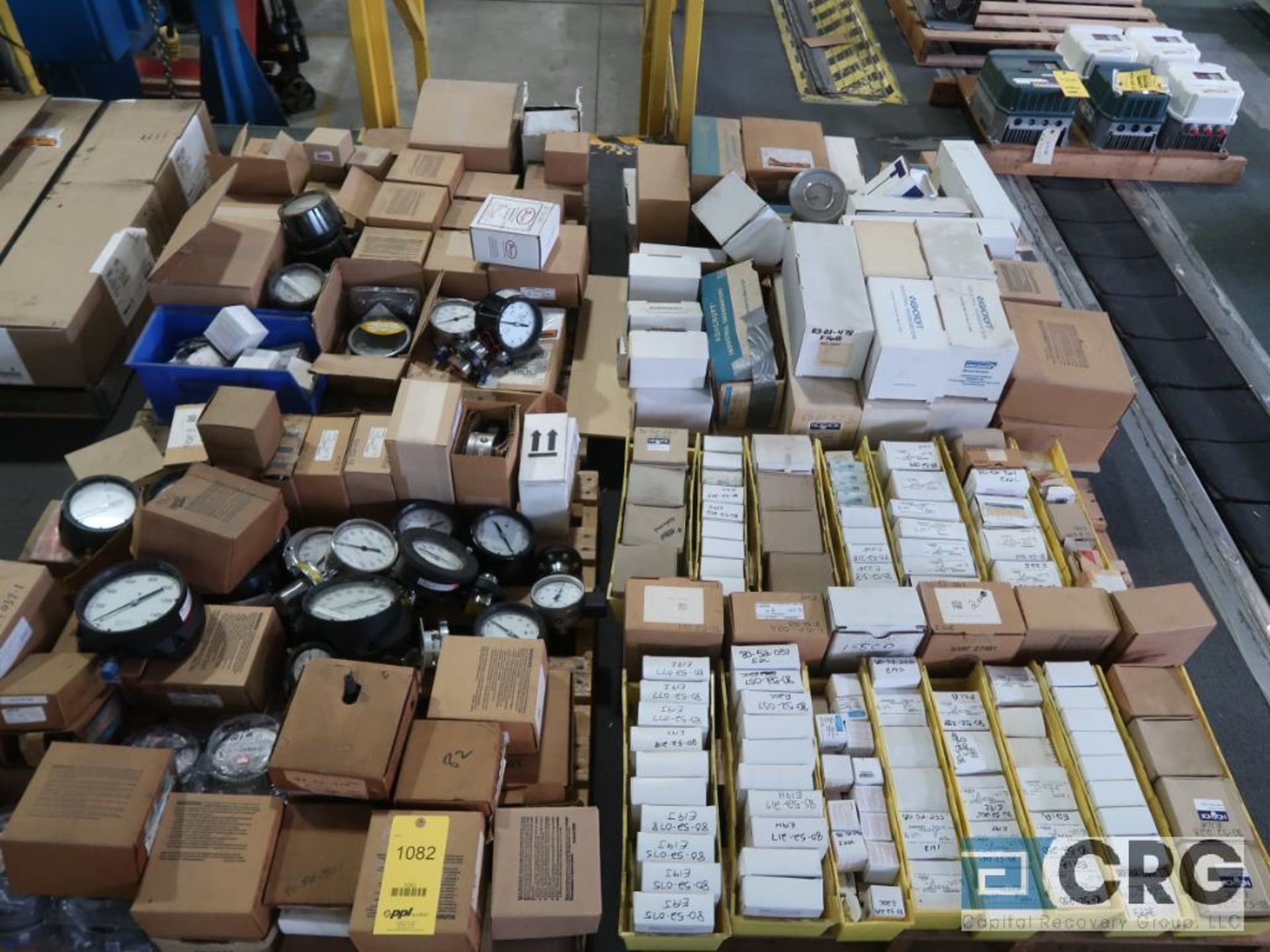 Lot of assorted temperature and pressure gauges on (4) pallets (Finish Building)