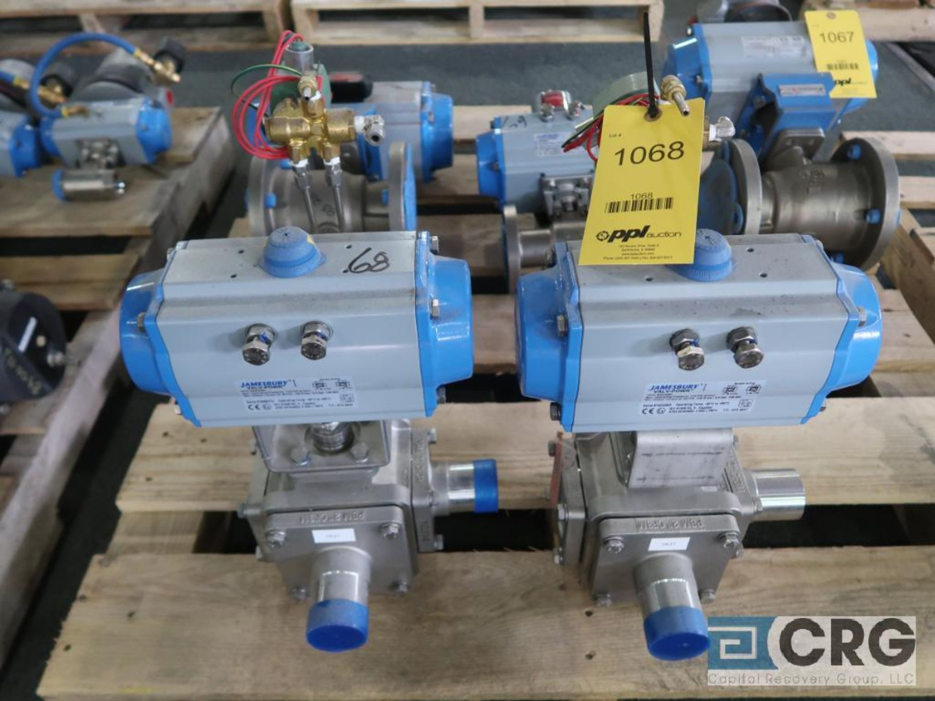 Lot of (2) Jamesbury stainless actuator 3 way valves, 2 in. (Finish Building)
