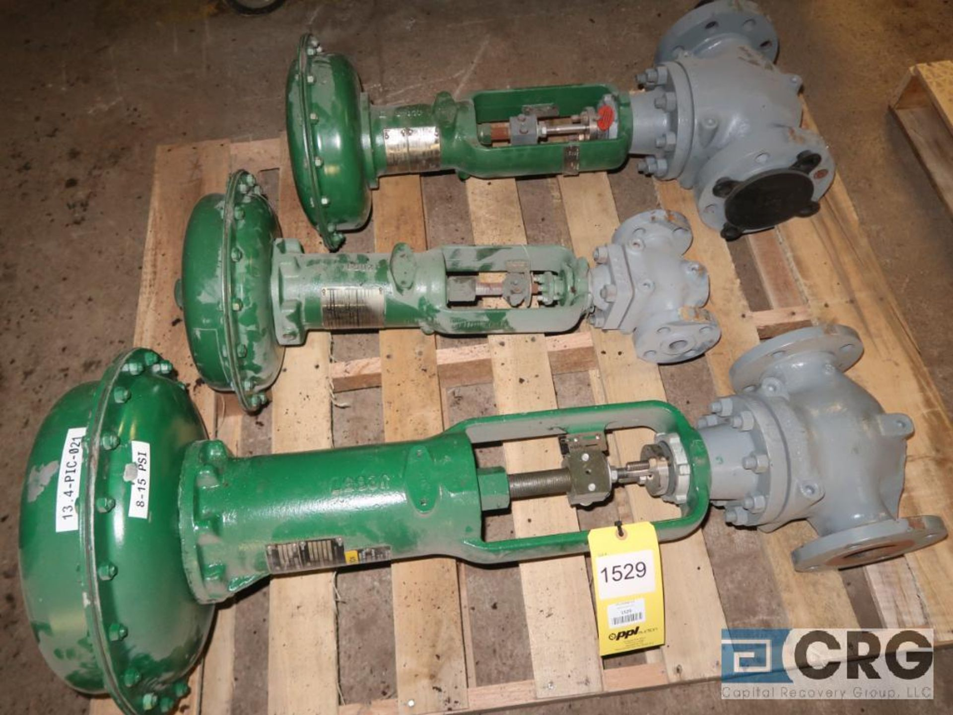 Lot of (3) assorted Fisher valves including (1) 3 7/16 in., (1) 2 7/8 in., and (1) 1 in. (496 Dock