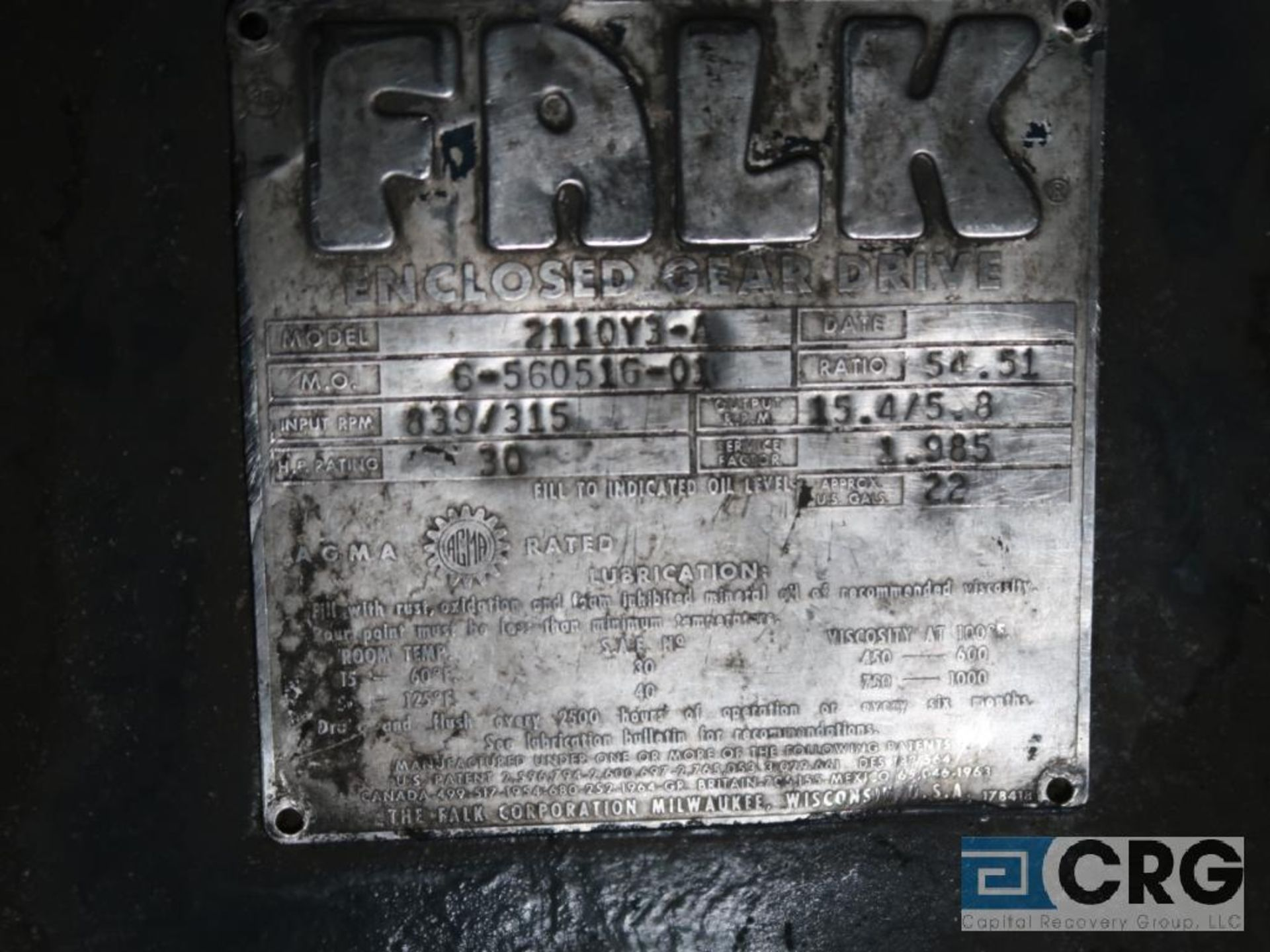 Falk 2110 Y3A gear drive, ratio-54.51, input RPM 839/315, output RPM 15.4/5.8, service rate HP. - Image 3 of 3