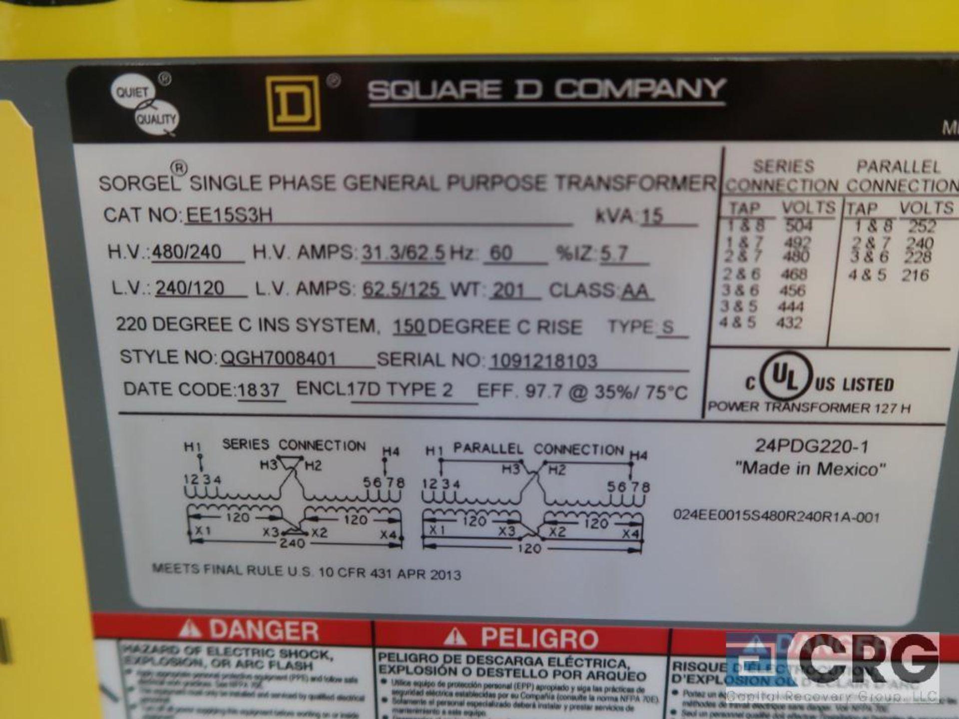 Square D single phase transformer, 15 KVA, 240/480 volt, s/n 18103 (Finish Building) - Image 2 of 2