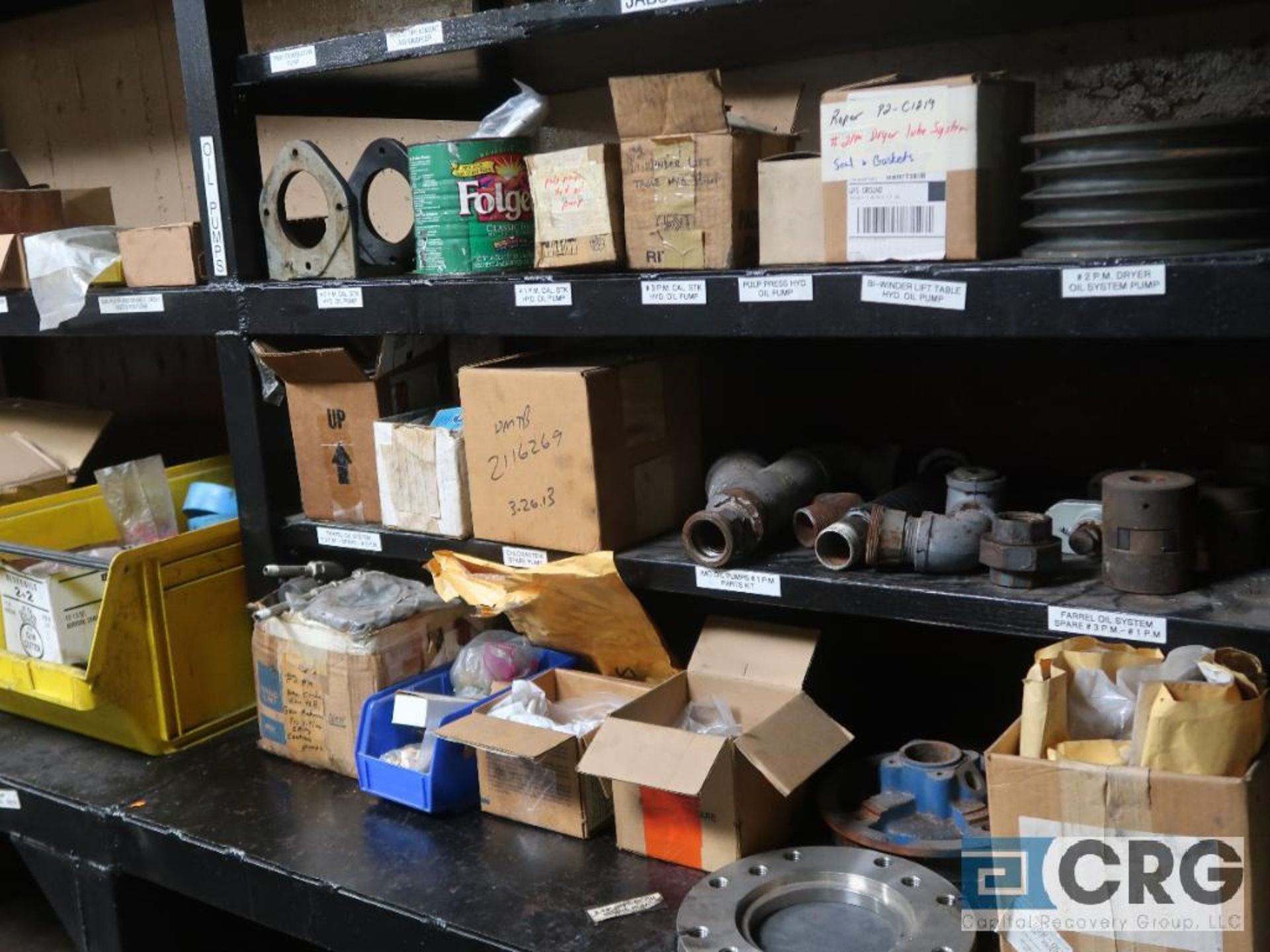 Lot of assorted parts on (4) sections and on wood shelving including motor, guards, housing, pump - Image 12 of 20