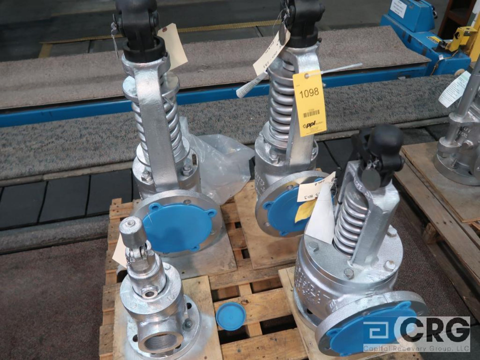 Lot of (4) safety relief valves, (1) 4 x 6, (2) 6 in., and (1) 3 in. (Finish Building)