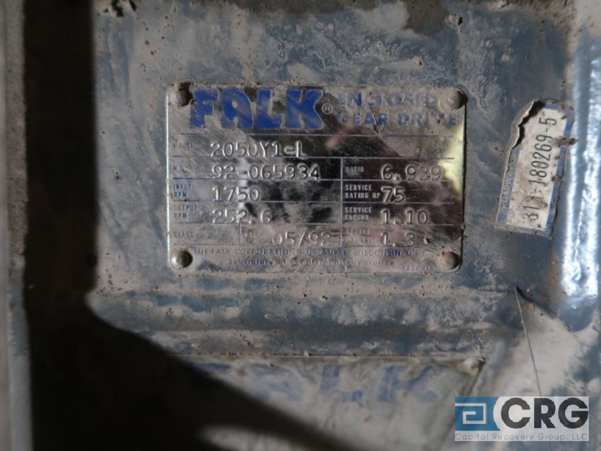 Falk 2050Y1L gear box, ratio- 6.928, input RPM 1,750, output RPM 252.6, service rate HP. 75 (Next - Image 3 of 3