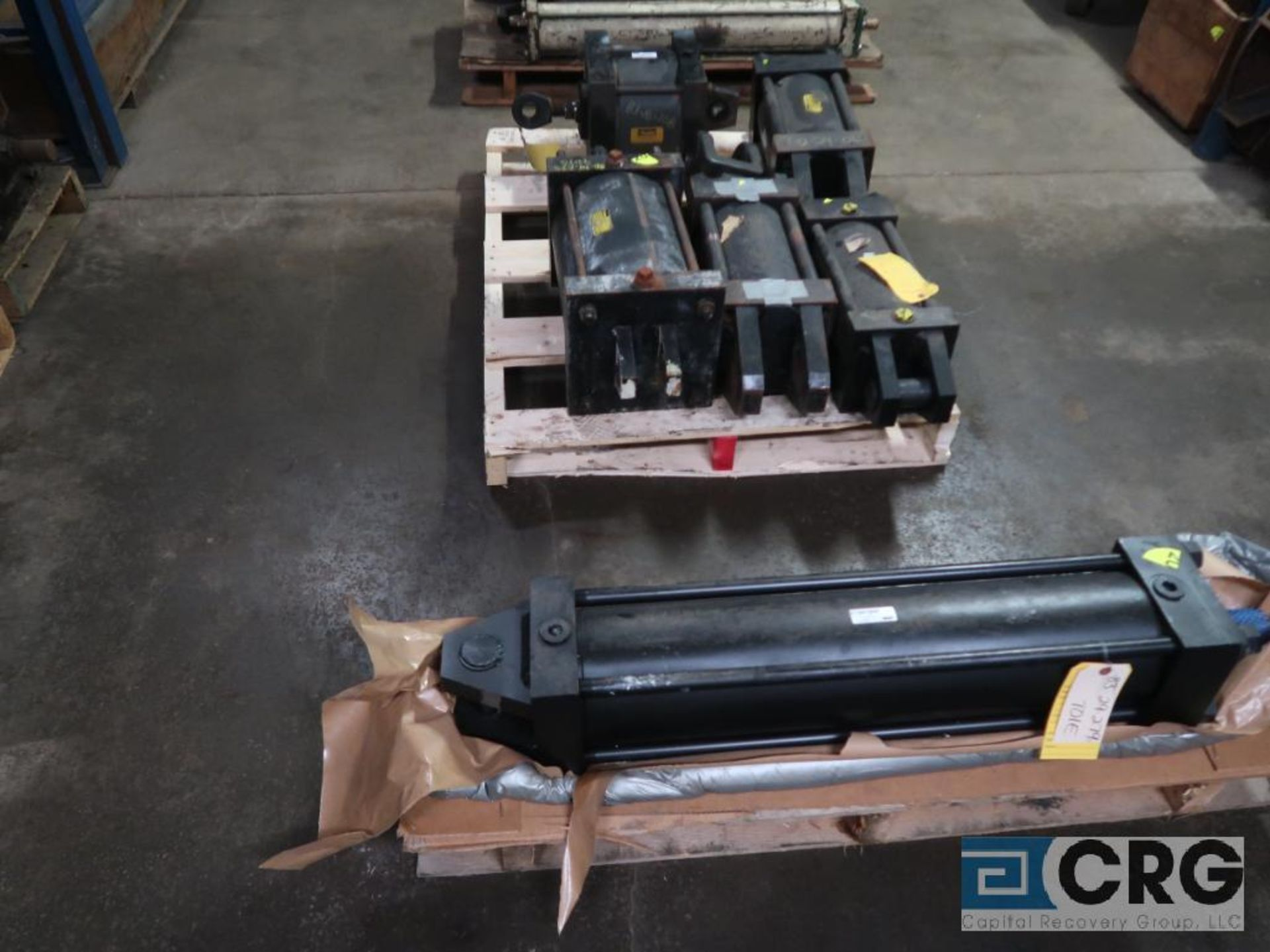 Lot of (8) pallets and (3) sections with assorted pneumatic and hydraulic cylinders (Store - Image 3 of 9
