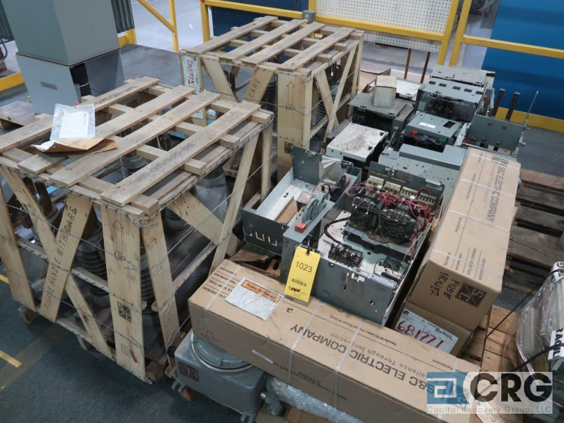 Lot of (8) pallets of electrical including fuse holders, amgard, and breakers (Finish Building)