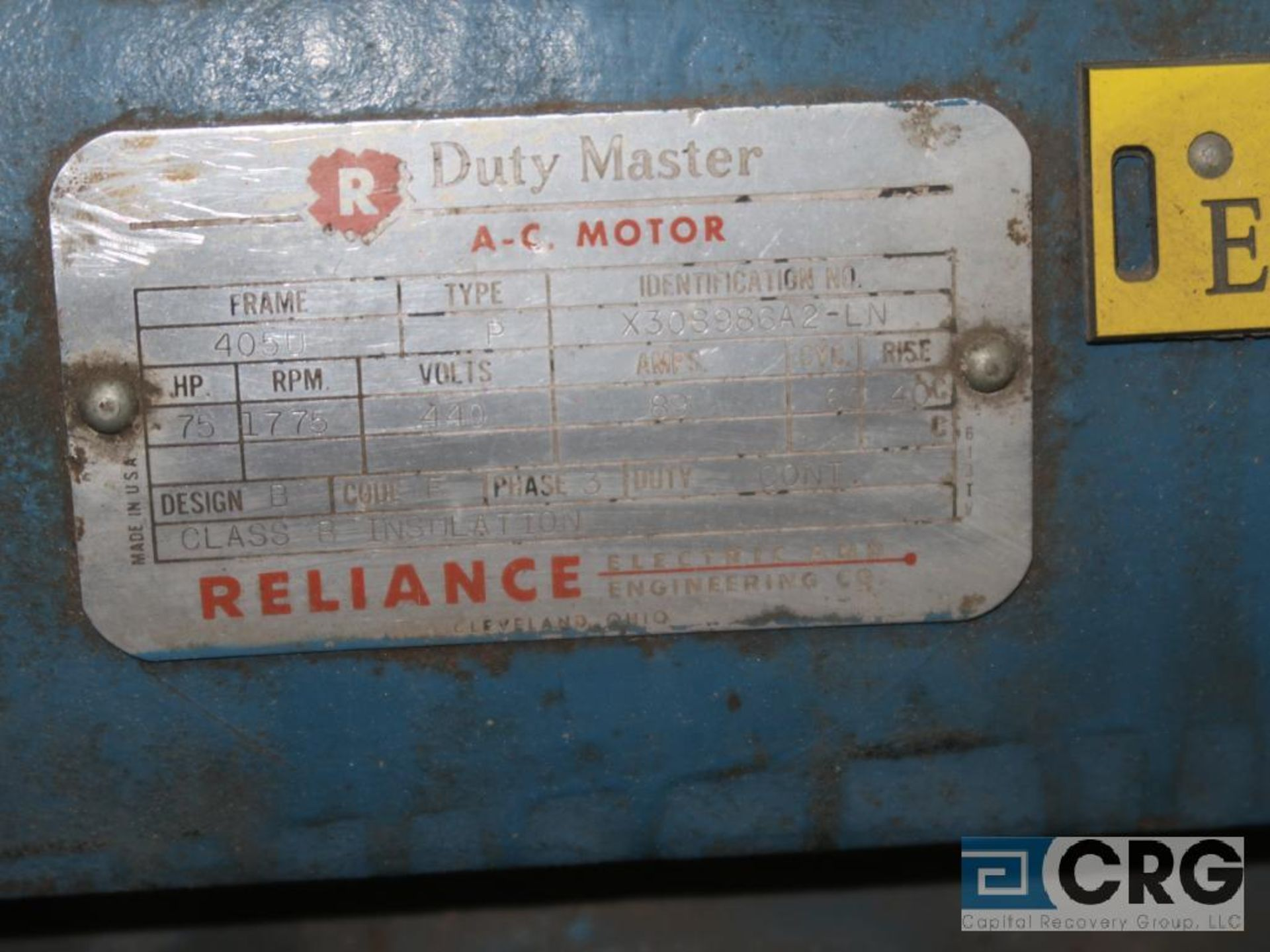 Reliance Duty Master A-C motor, 75 HP, 1,775 RPMs, 440 volt, 3 ph., 405U frame (Finish Building) - Image 2 of 2