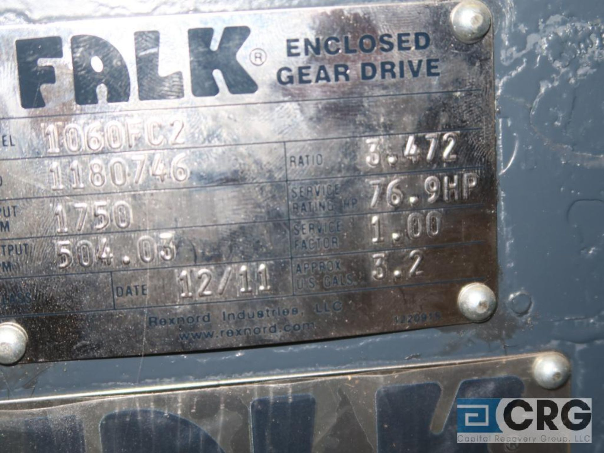 Falk 1062 FC2 gear drive, ratio-3.475, input RPM 1,750, output RPM 504.3, service rate HP. 76.9, s/n - Image 2 of 2