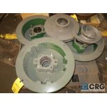 Lot of assorted Allis Chalmers pump parts on (2) pallets including impellers, face plate, and