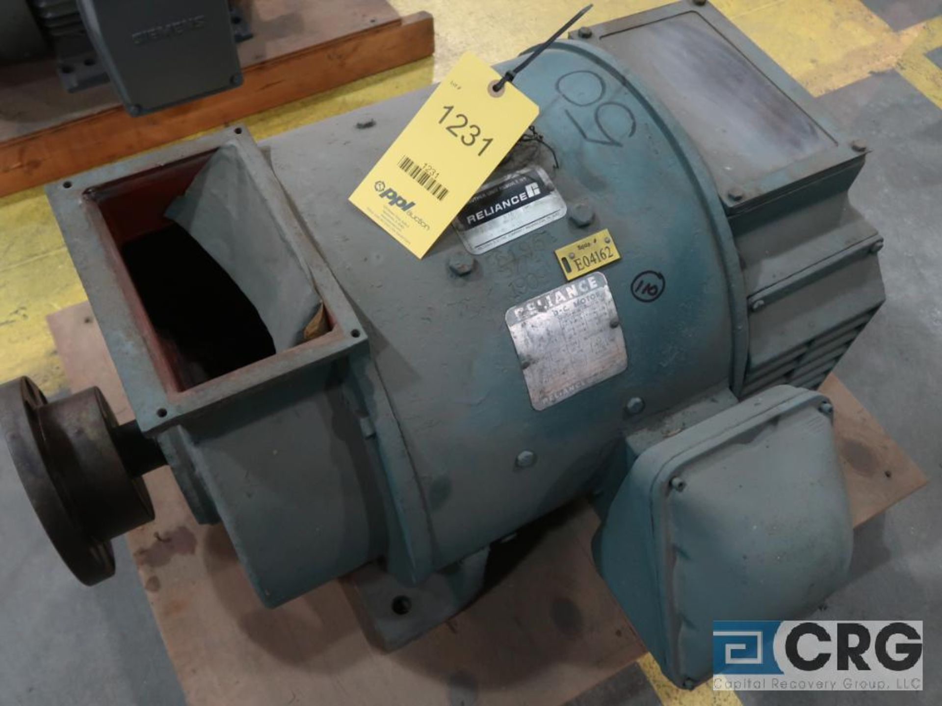 Reliance D-C motor, 50 HP, 1,750/2,000 RPMs, 240 volt, 3 ph., 405A-S frame (Finish Building)