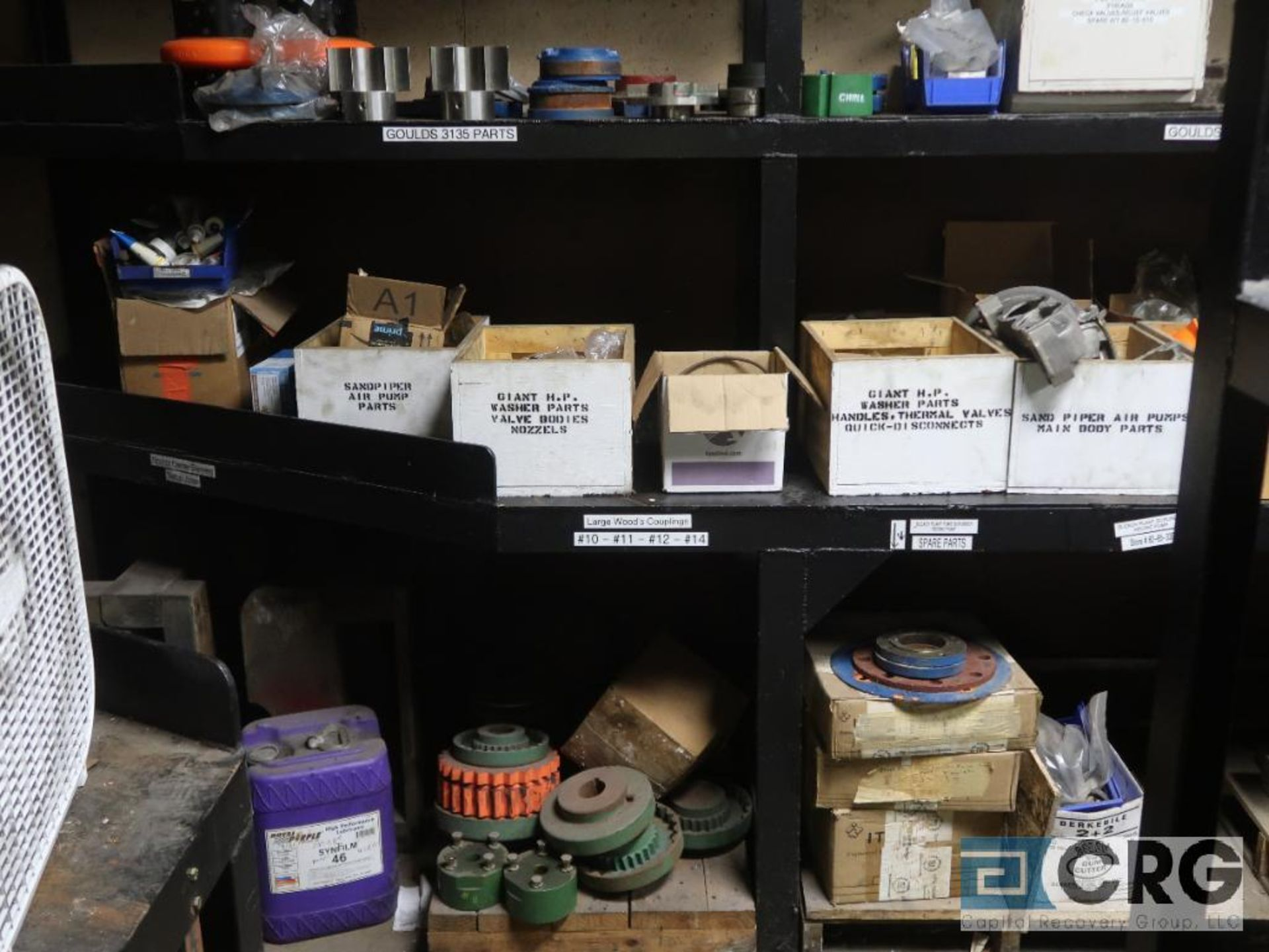 Lot of assorted parts on (4) sections and on wood shelving including motor, guards, housing, pump - Image 8 of 20