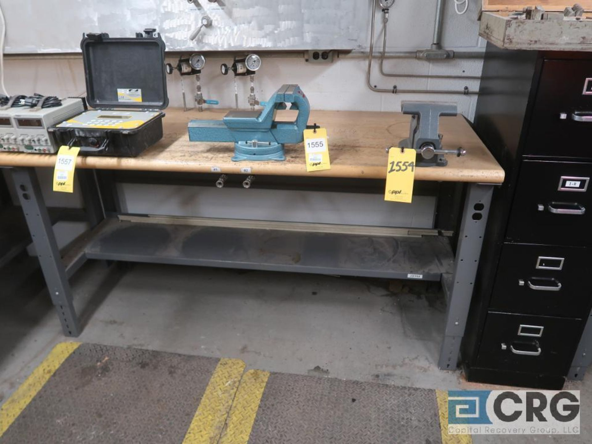 Lot of (3) work benches including (1) 8 ft. x 30 in. with 6 in. vise mounted, (1) 6 ft. 30 in. - Image 2 of 5