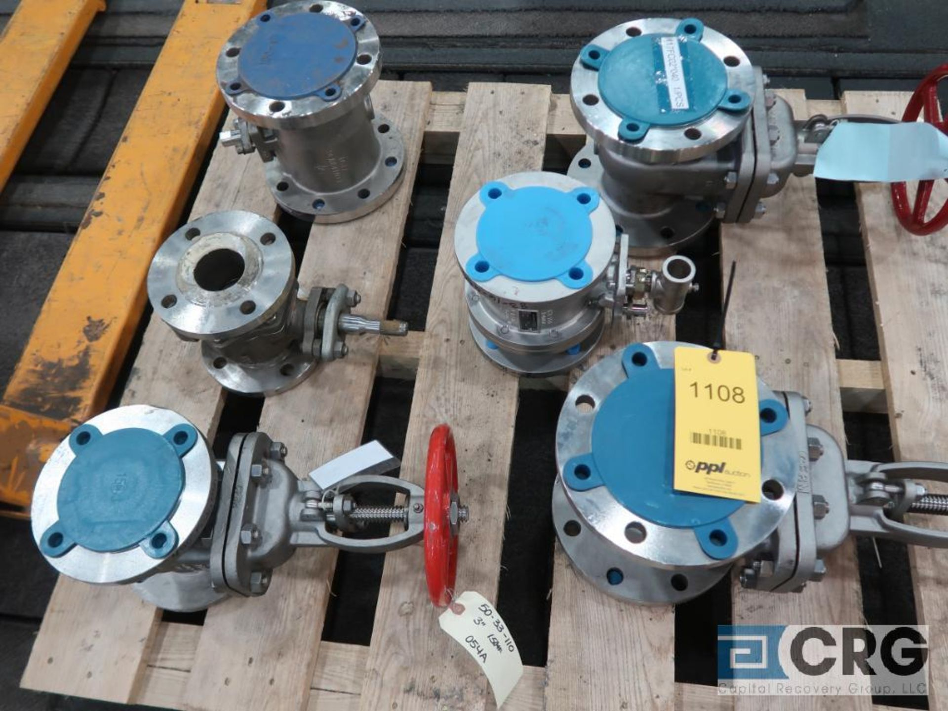 Lot of (6) stainless ball valves, (3) 3 in., and (3) 4 in. (Finish Building)