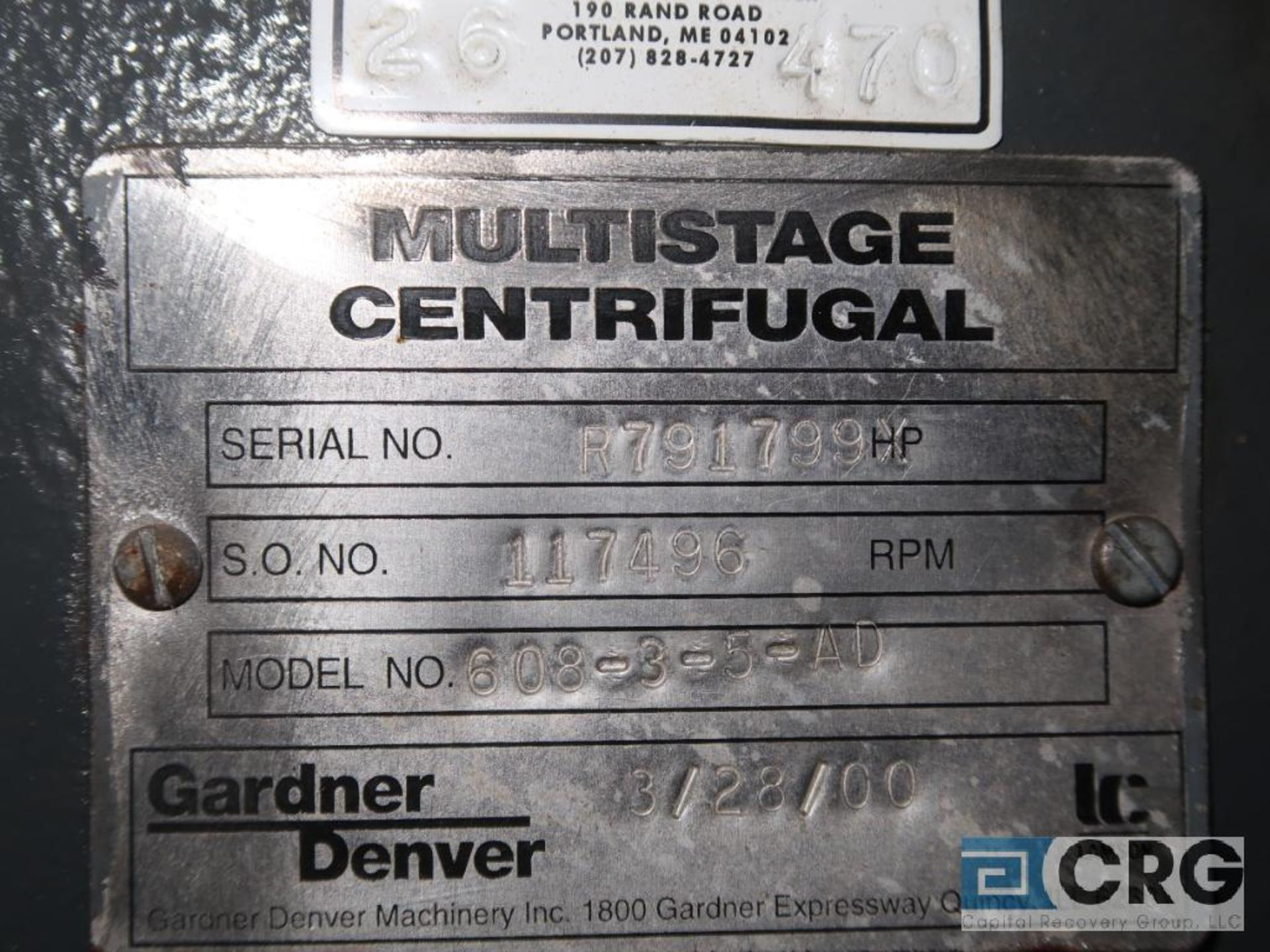 Gardner Denver 608-3-5 4D multi stage centrifugal vacuum pump, year 2000, s/n R791799 (Off Site - Image 2 of 2
