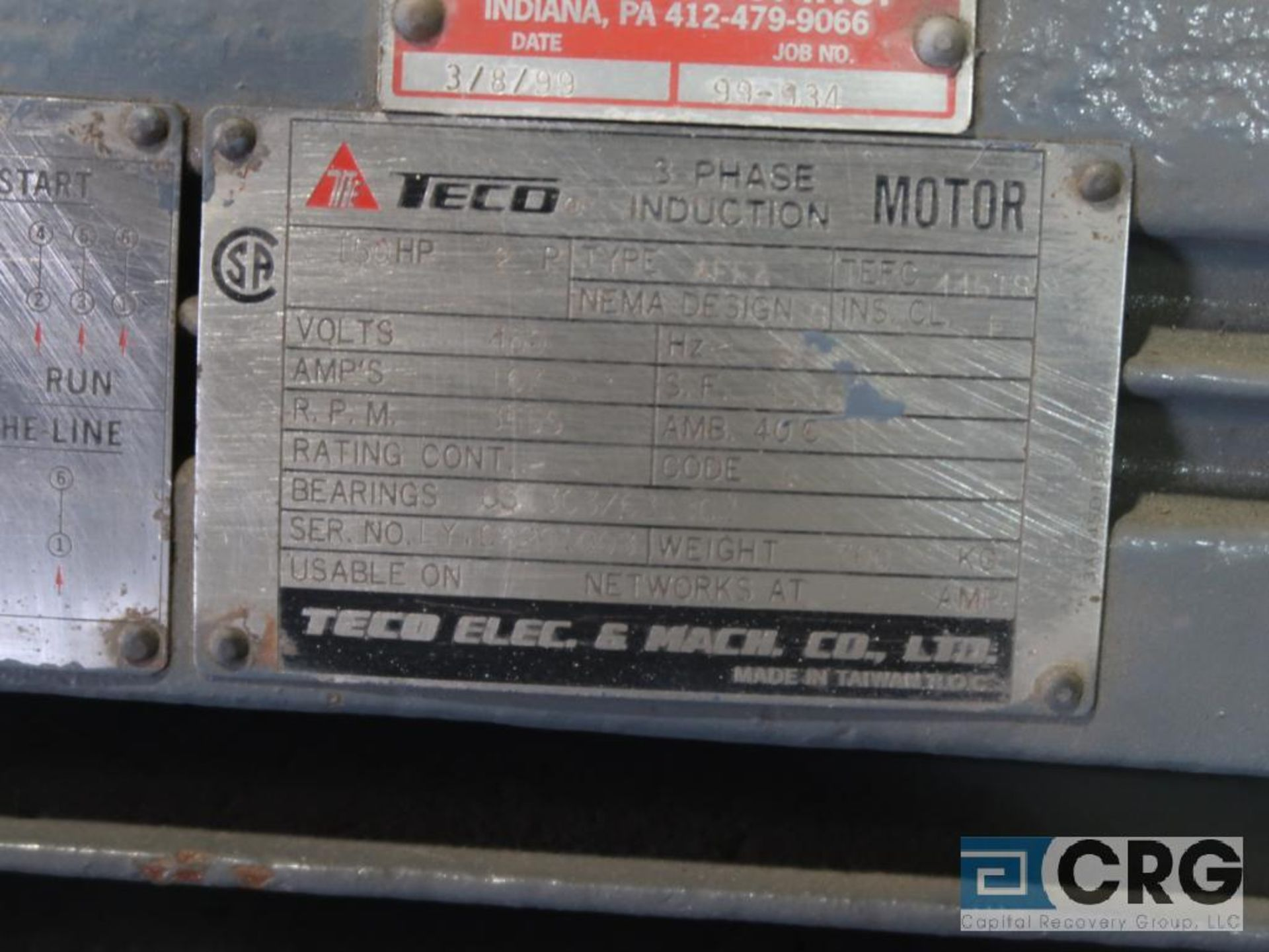 Teco-Electric induction motor, 150 HP, 3,555 RPMs, 460 volt, 3 ph., 445 TS frame (Finish Building) - Image 2 of 2