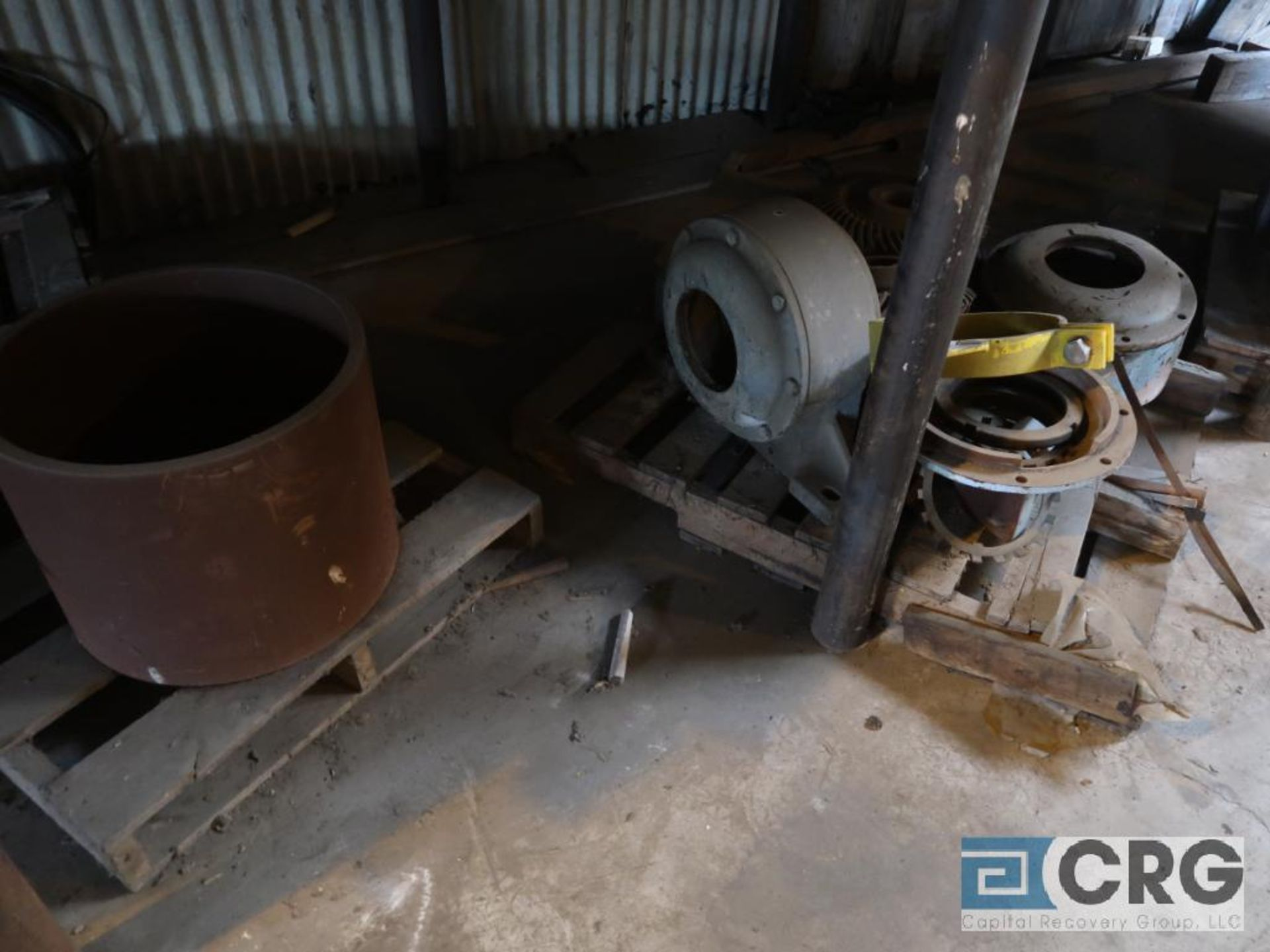 Lot of assorted motor, gear bearing housing, gear drive on metal rack (Next Bay Cage Area) - Image 11 of 16
