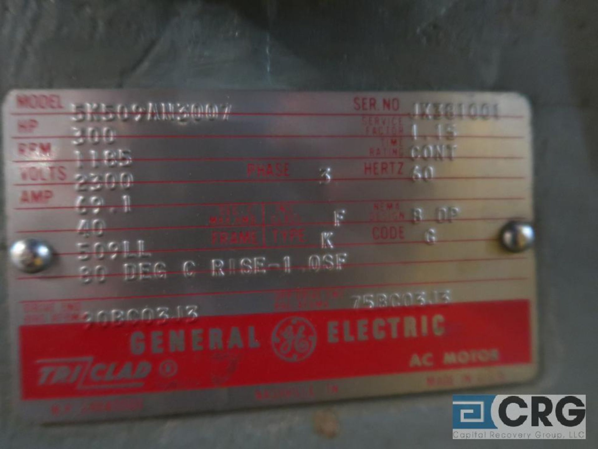 General Electric A-C motor, 300 HP, 1,185 RPMs, 2,300 volt, 3 ph., 509LL frame (Finish Building) - Image 2 of 2