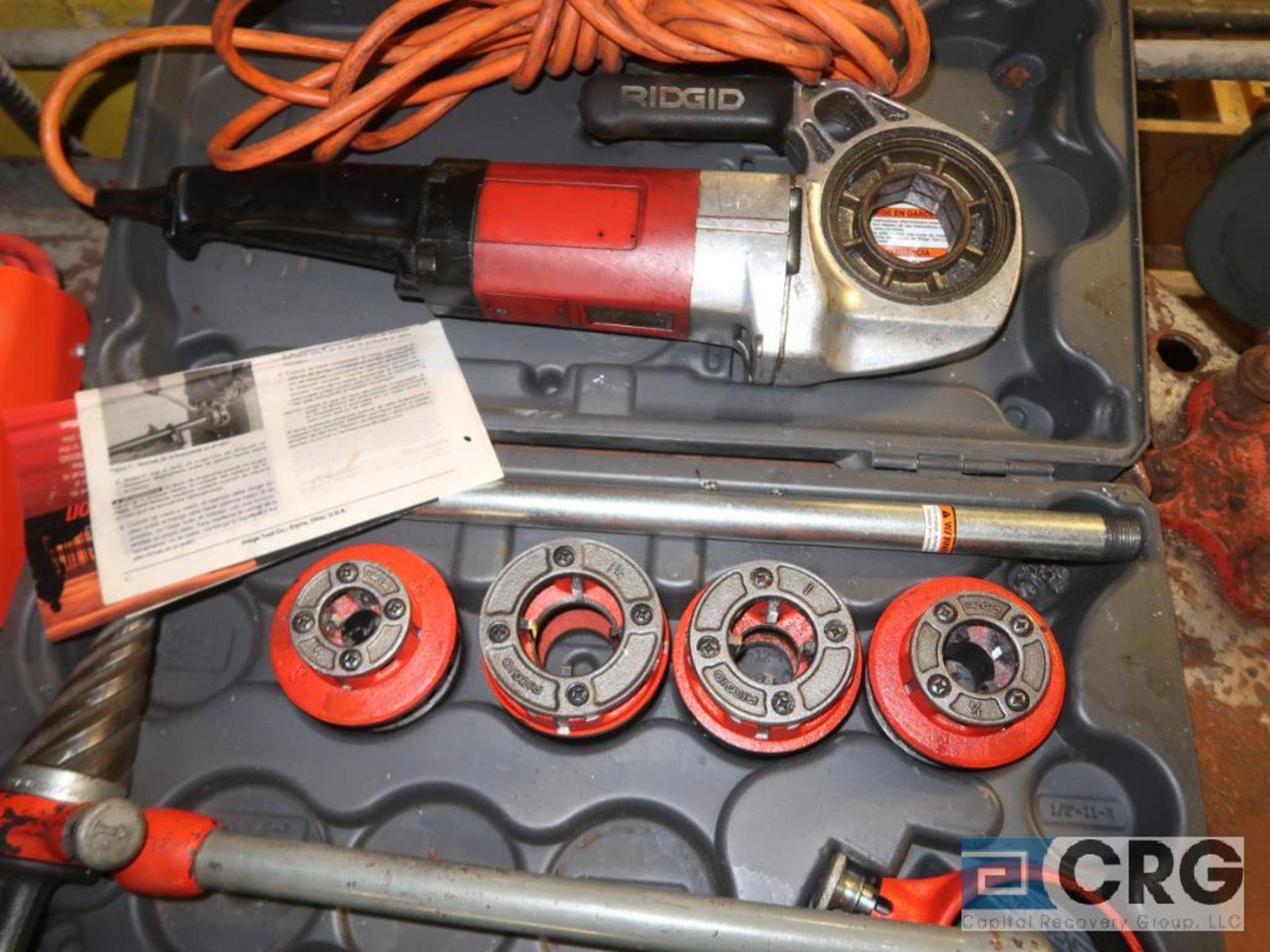 Lot of Ridgid threading tools including (1) model 600 electric handheld, (1) manual set, (4) - Image 3 of 4