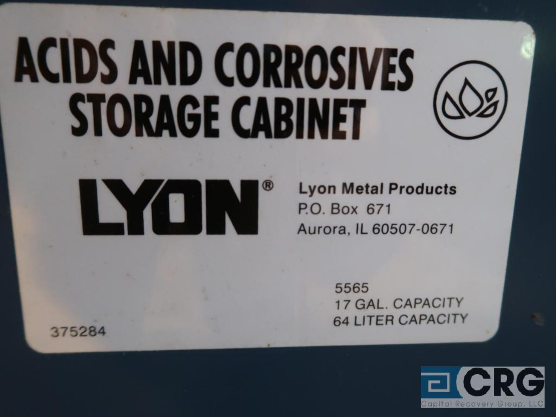 Lyons 2 door acid/chemical storage cabinet (Next Bay Cage Area) - Image 2 of 2