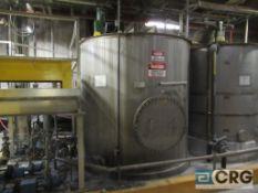 "Polystar stainless supply tanks, 3000 gal, 96"" height, top mount Lightnin mixer, side manhole"