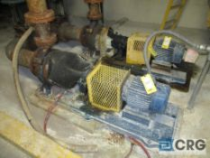 Lot of (2) Warren 4-PH12 centrifugal pumps with 10 HP drives, and connecting 734 gal South Chilled