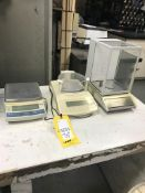 Lot of (3) scales including Mettlen AM 100 analytic balance, Santorius CPA2235 micro balance, and